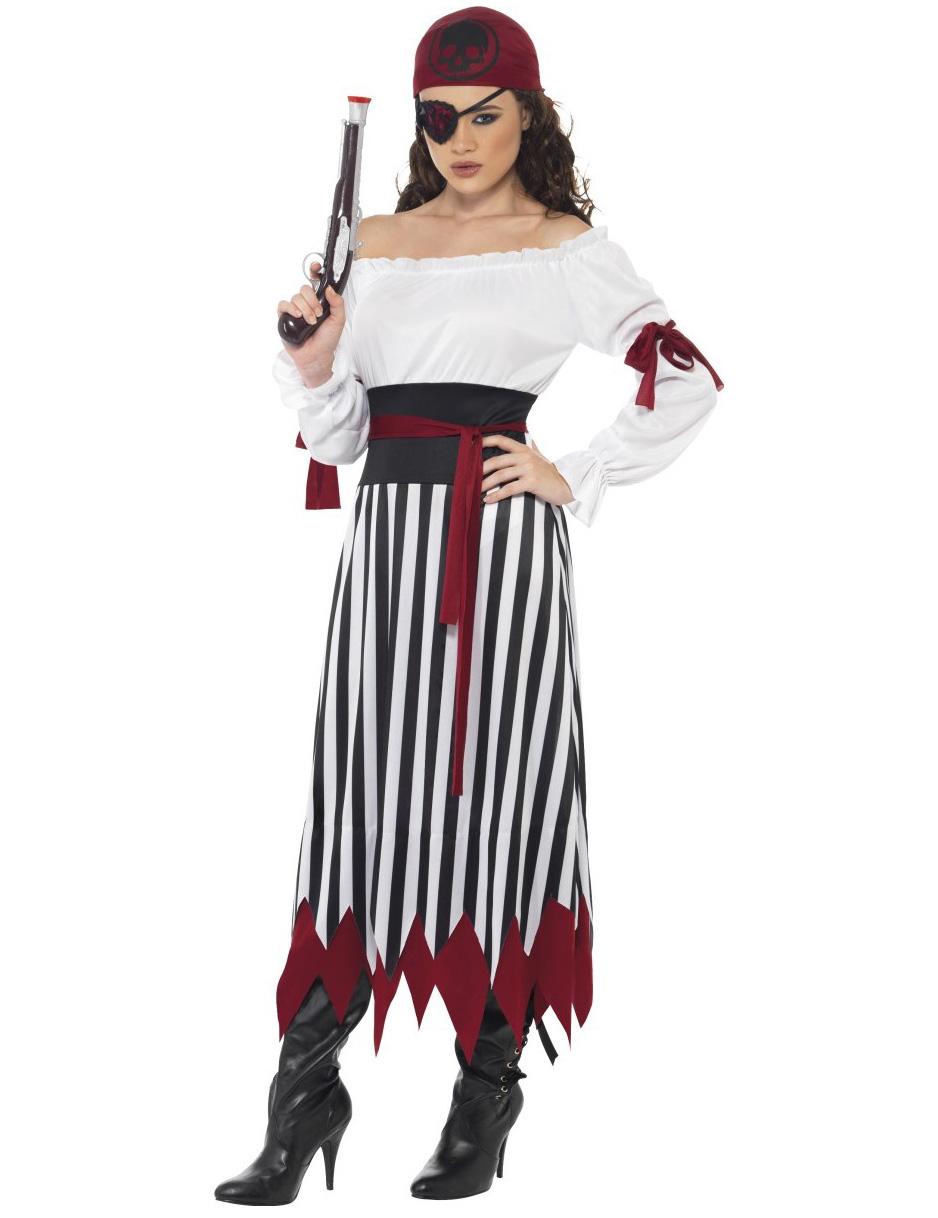 Piratin Kostum Gestreift Karnevalskostume Bei Vegaoo