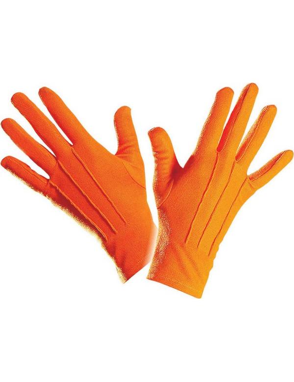 kurze orange handschuhe karnevalszubeh r von vegaoo. Black Bedroom Furniture Sets. Home Design Ideas