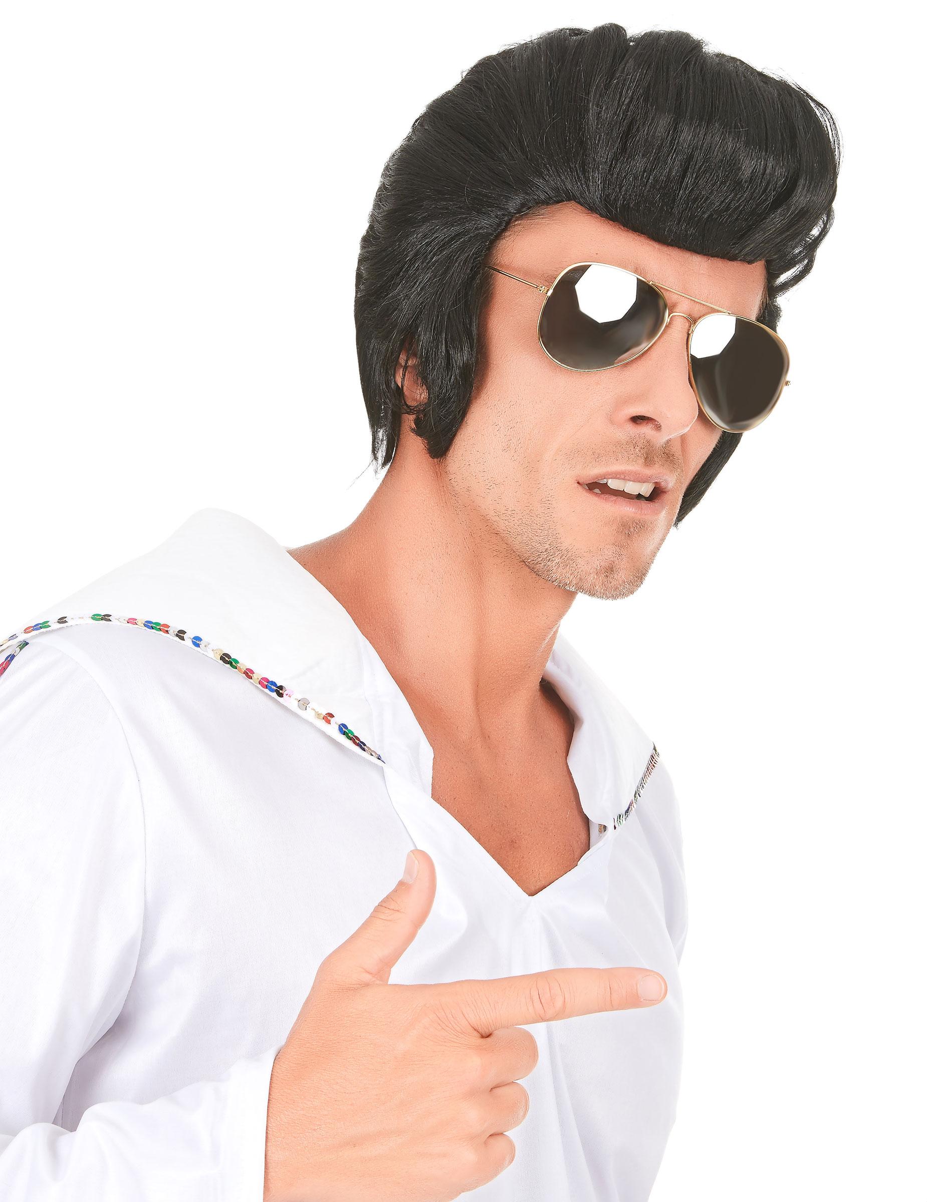 Retro-Rockstar Perücke für Männer schwarz 73626