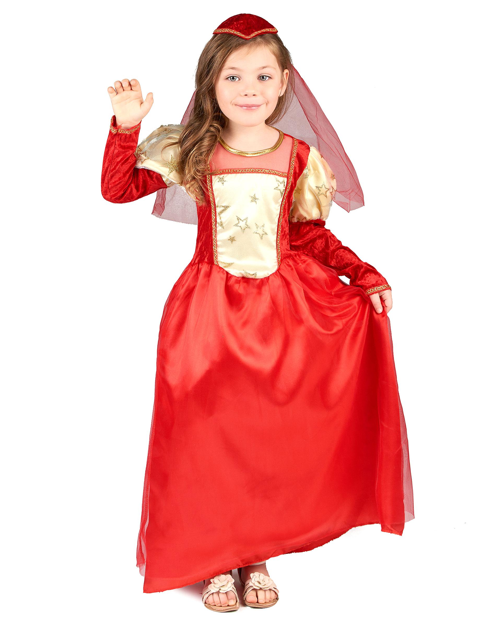 verkleidung mittelalterliches m dchen in rot kost me f r kinder und g nstige faschingskost me. Black Bedroom Furniture Sets. Home Design Ideas