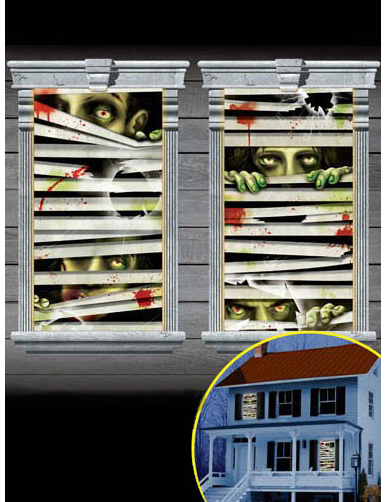 2 Zombie Fenster-Dekorationen 75901