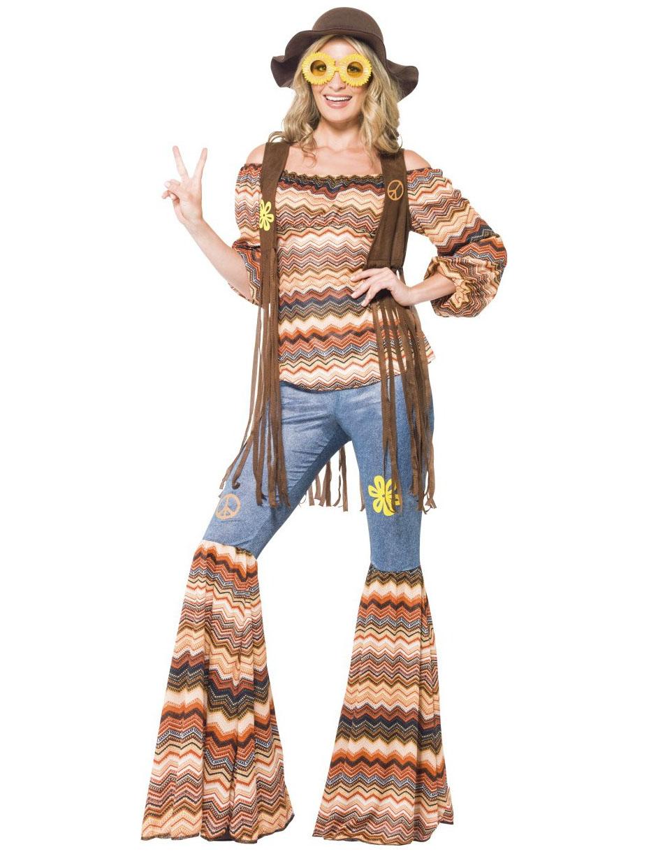 Hippie-Kostüm für Frauen mit Weste bunt - XL 76388