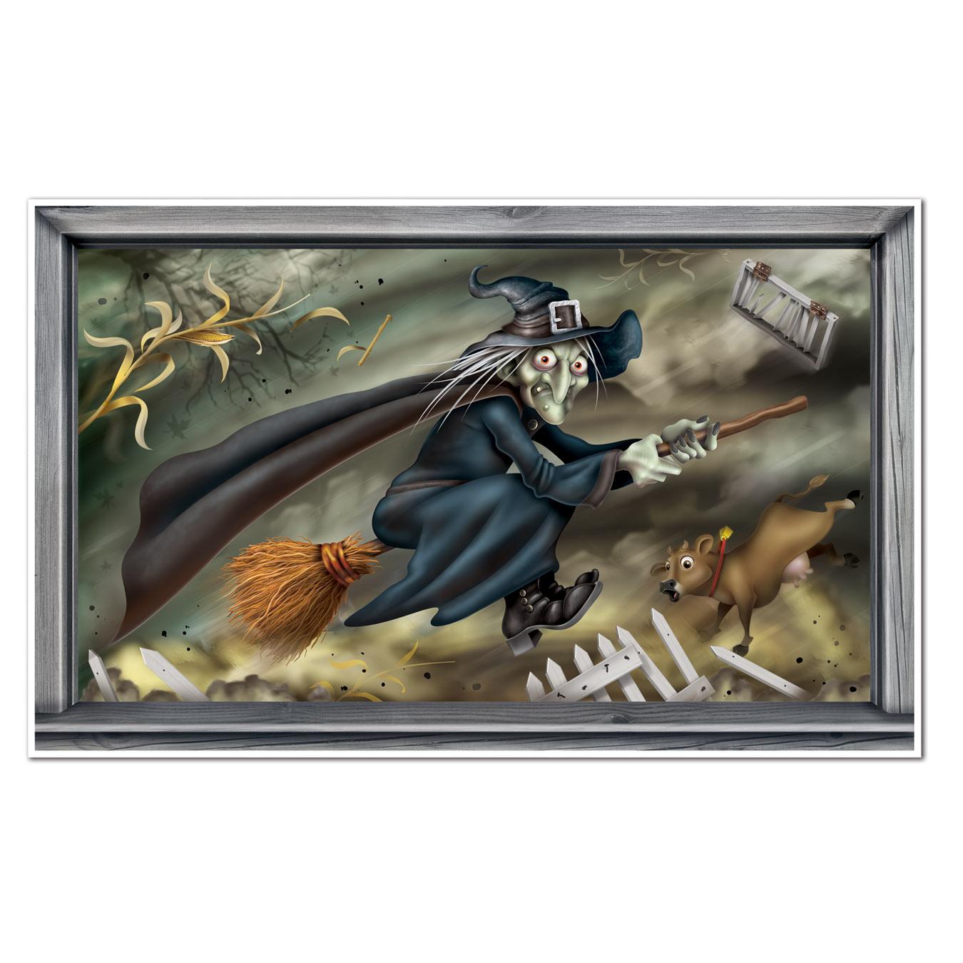 Halloween Dekoration Wandbild Fliegende Hexe Partydeko