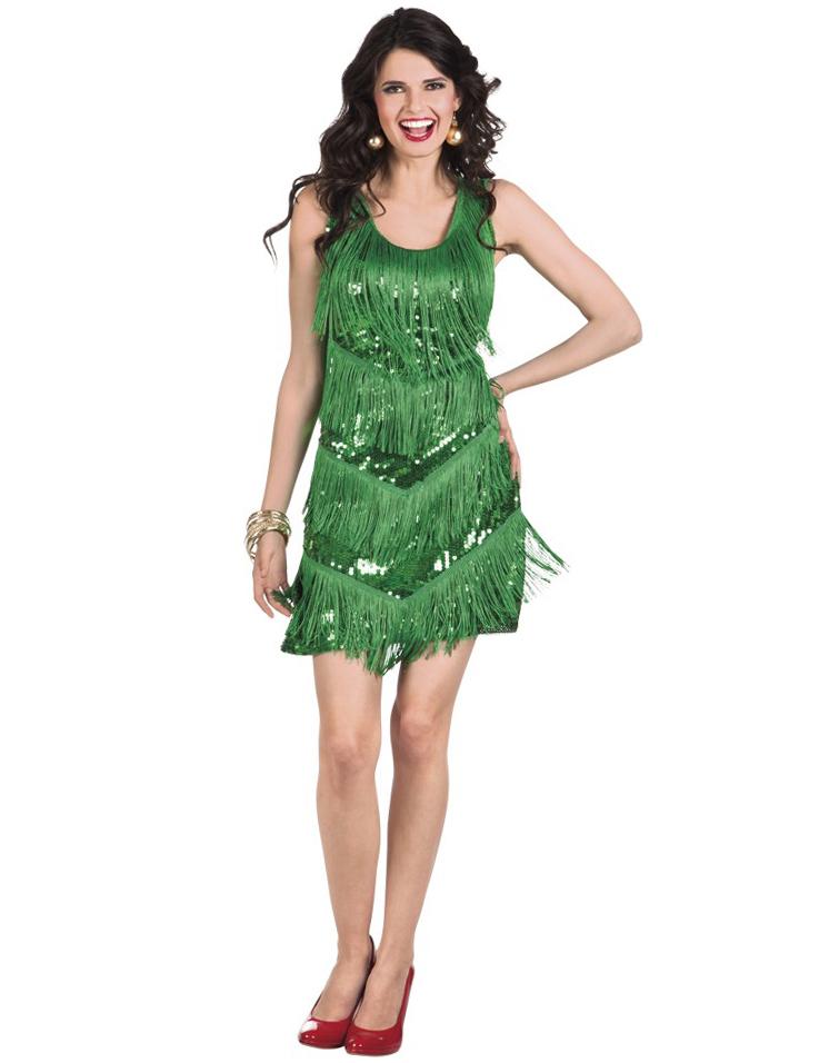 20er-Jahre Charleston-Kleid in Grün für Frauen 78425
