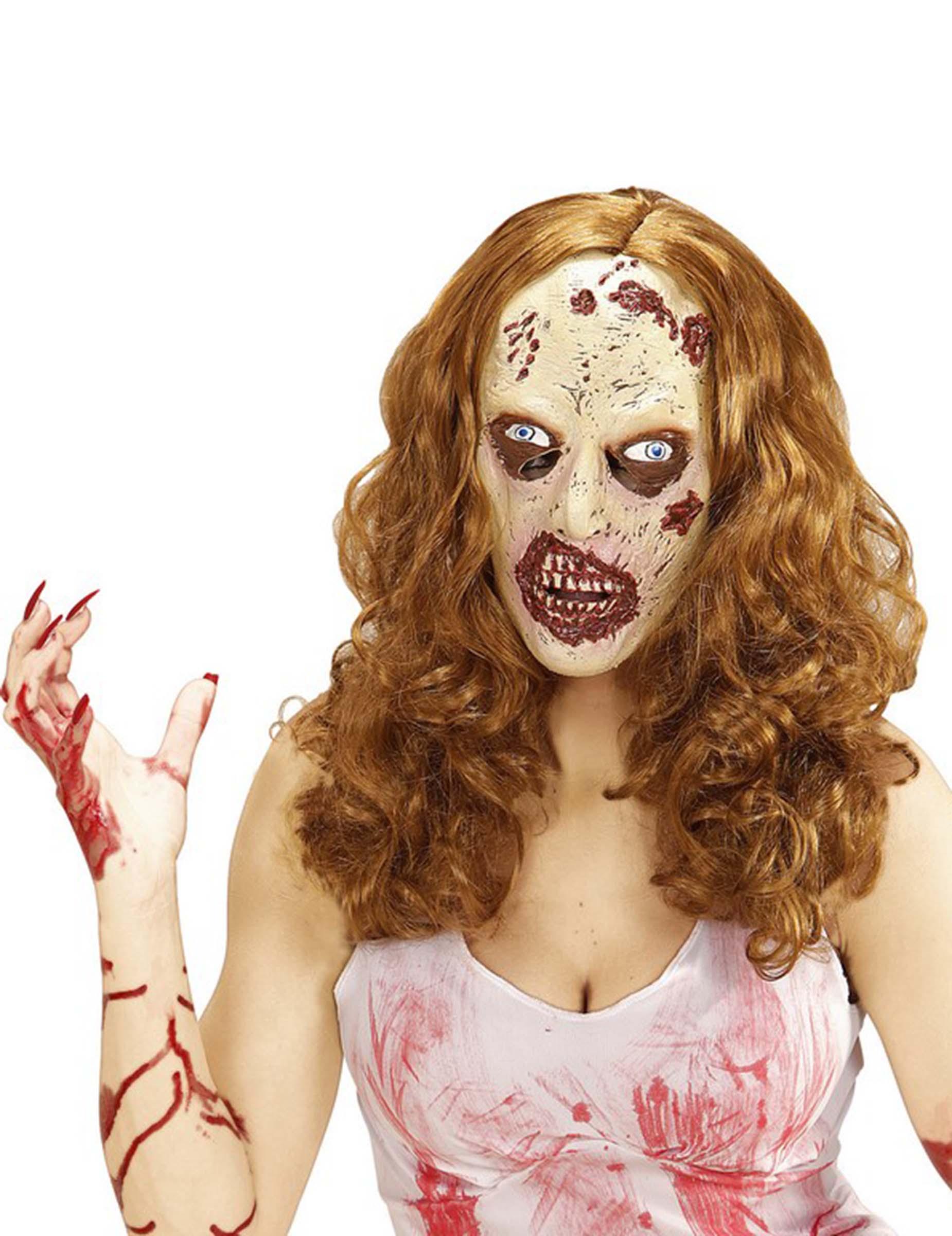 Halloween Maske und Perücke Zombie 78490