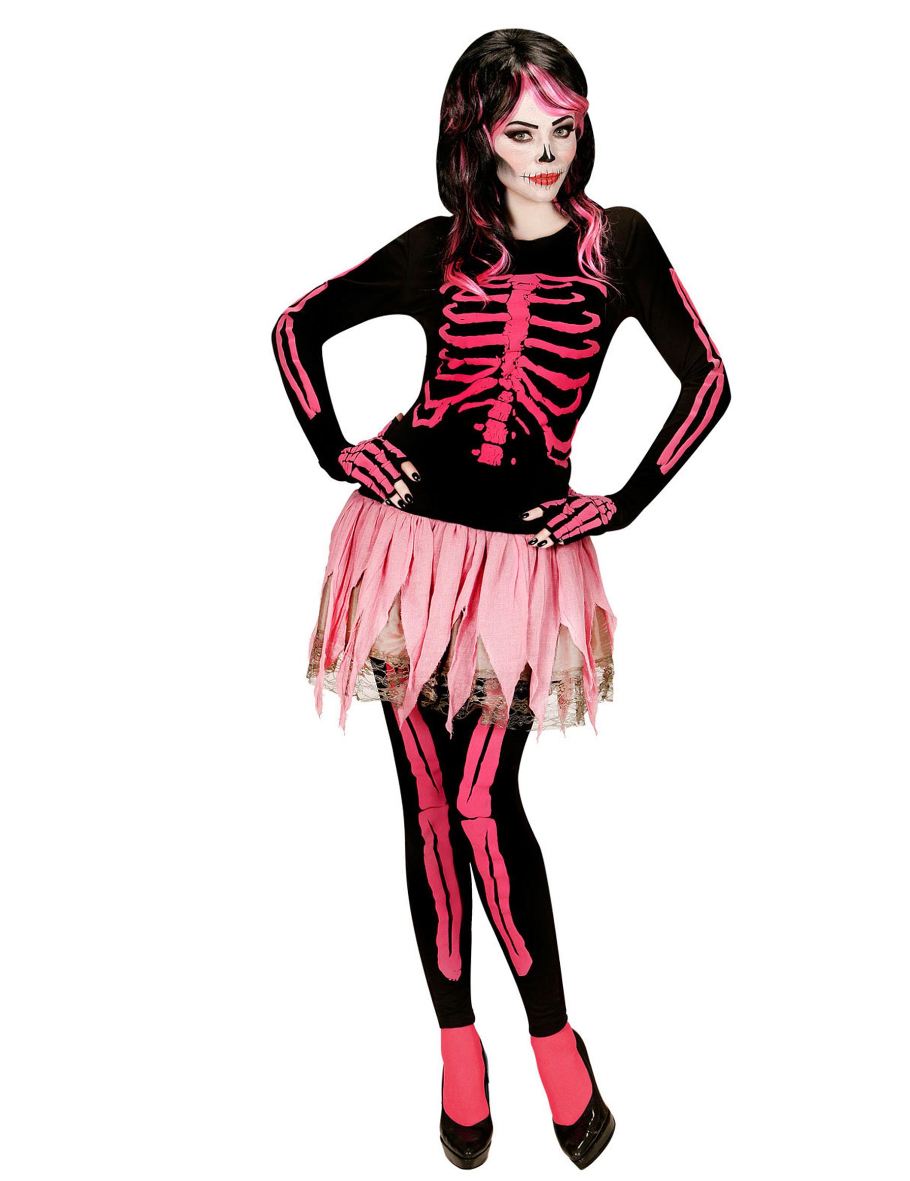 ausgefallenes rosa skelett kost m f r damen. Black Bedroom Furniture Sets. Home Design Ideas