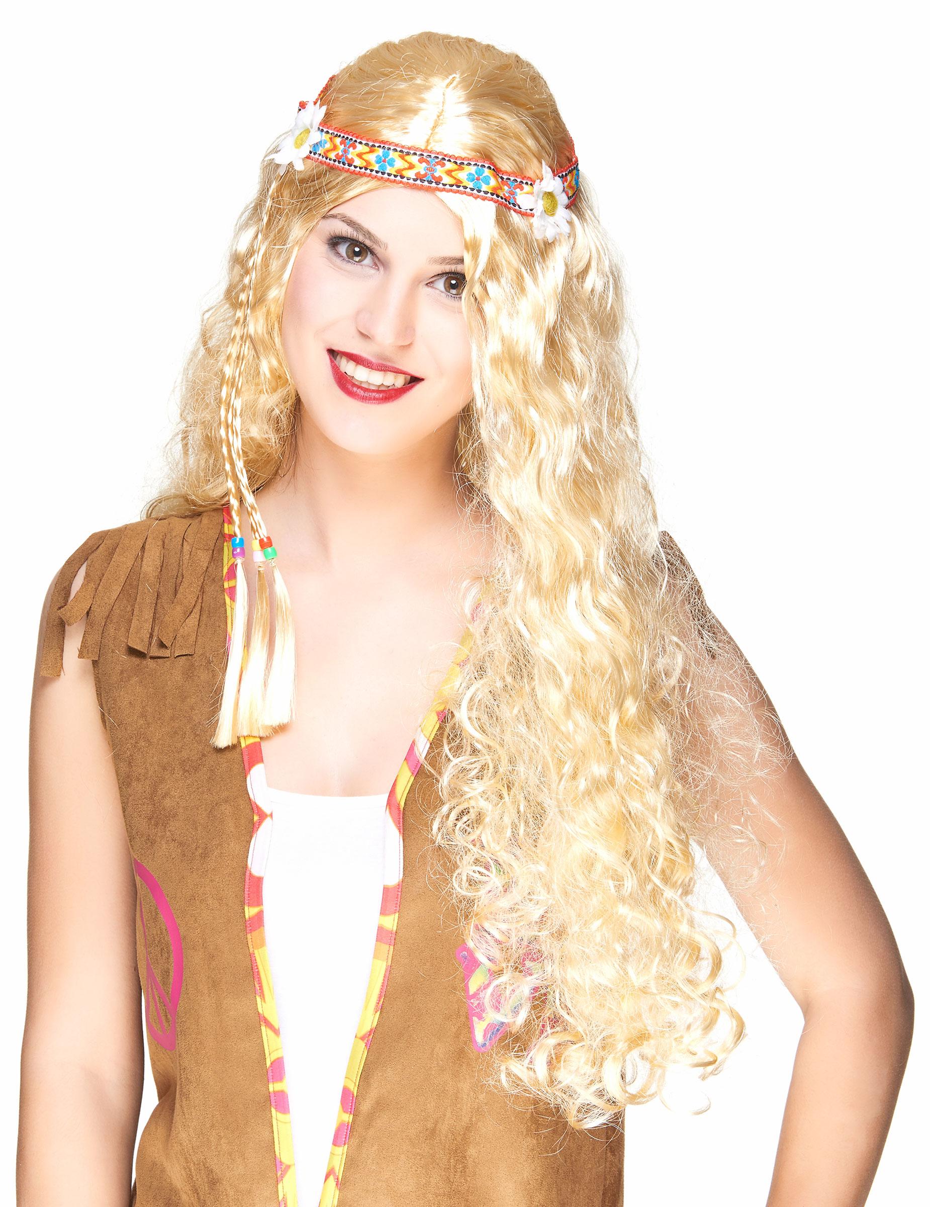Lange Hippie-Perücke in Blond für Damen 79890