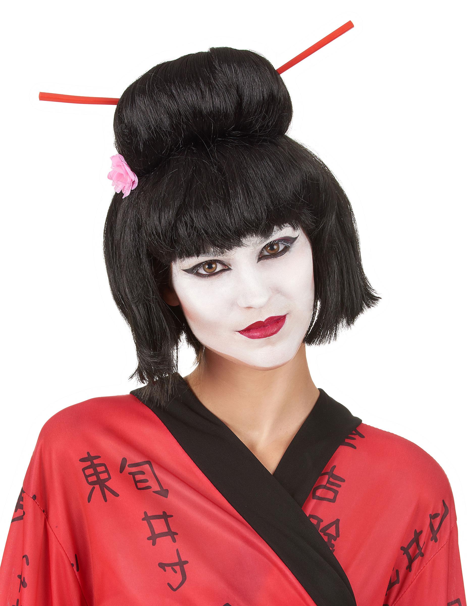 Geisha Perucke Fur Damen Hochsteckfrisur Schwarz