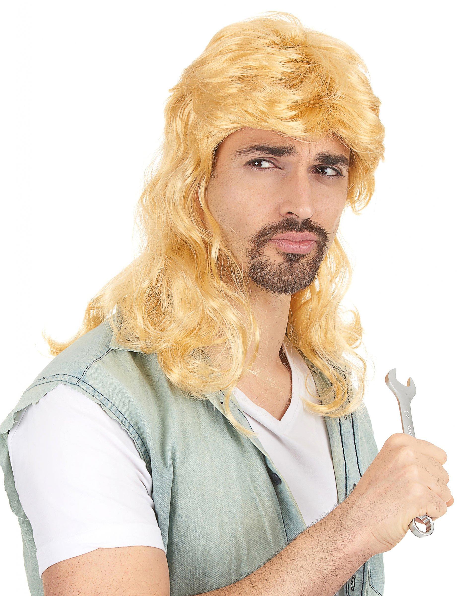 Vokuhila-Perücke blond für Herren 79935