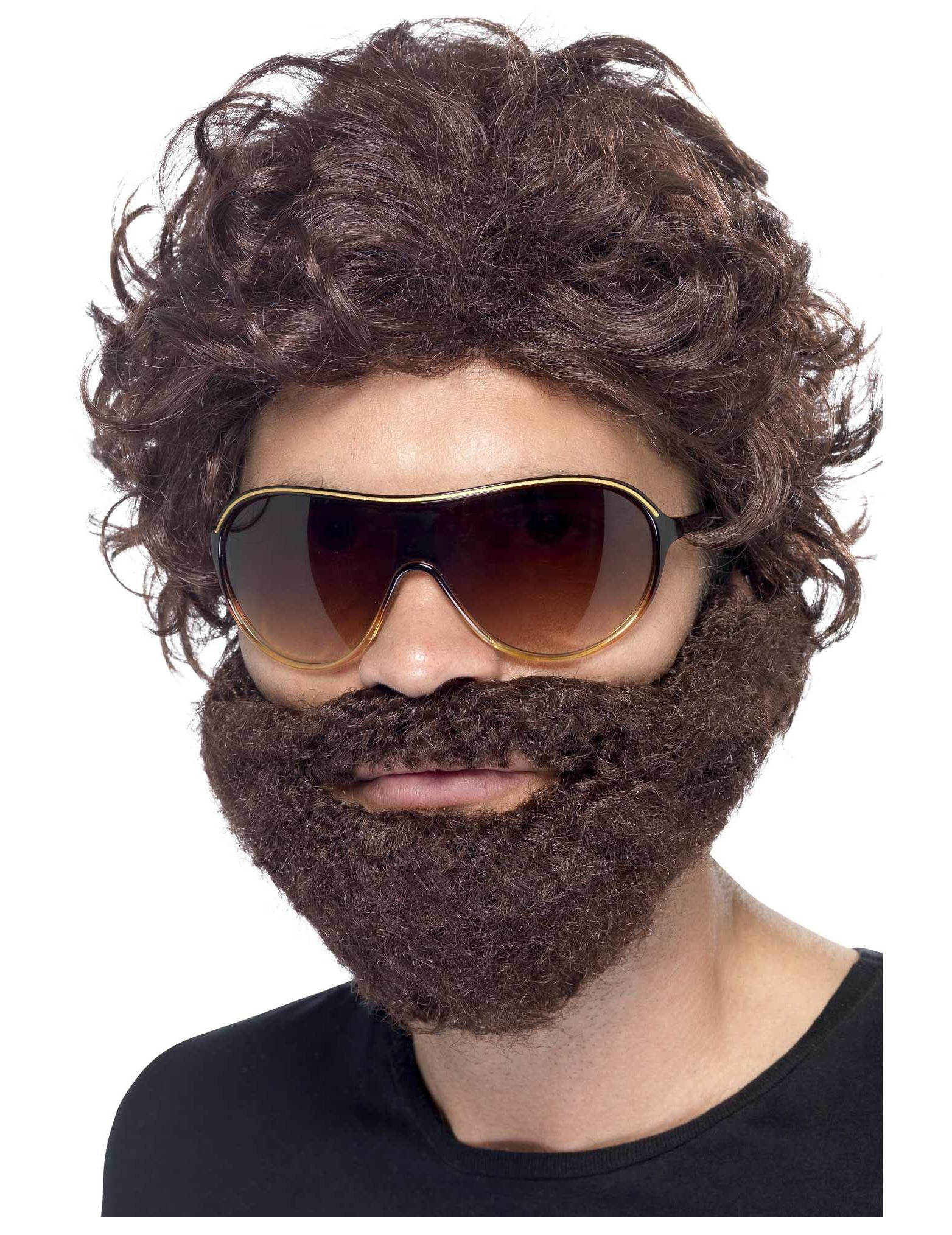 Braune Perücke mit Bart für Erwachsene hXG69