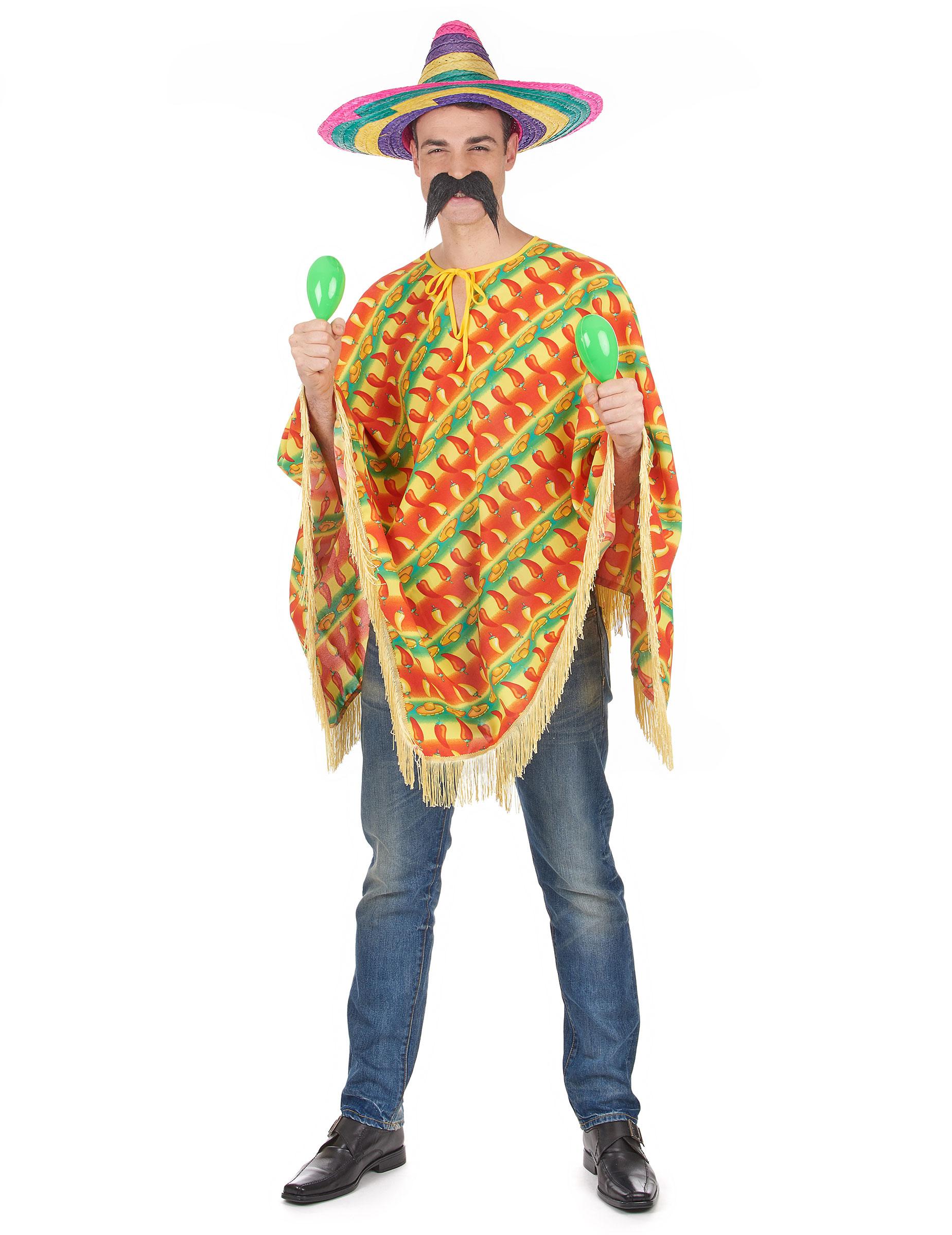 Mexiko-Poncho für Herren bunt 80683