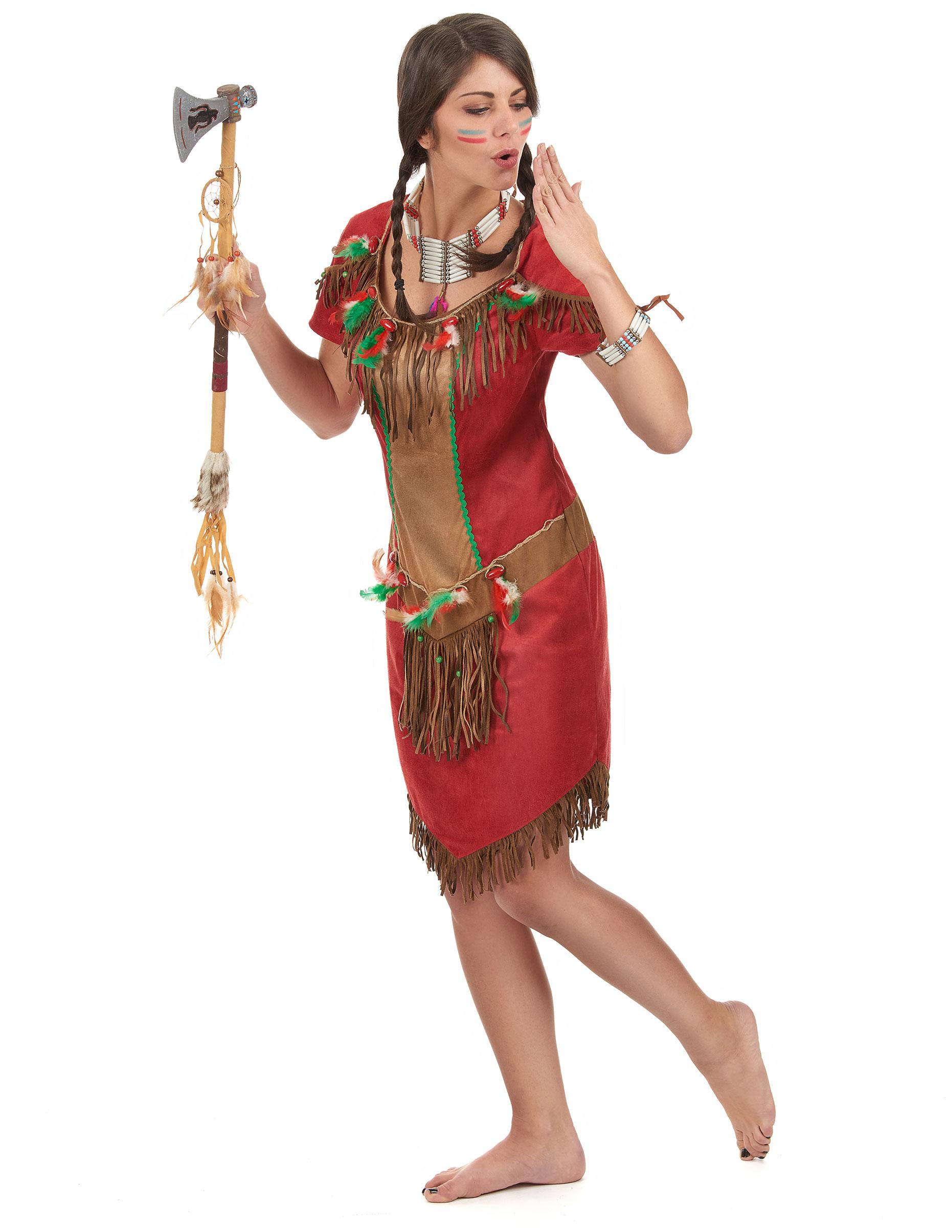 Indianer Kostum In Rot Fur Damen Kostume Fur Erwachsene Und