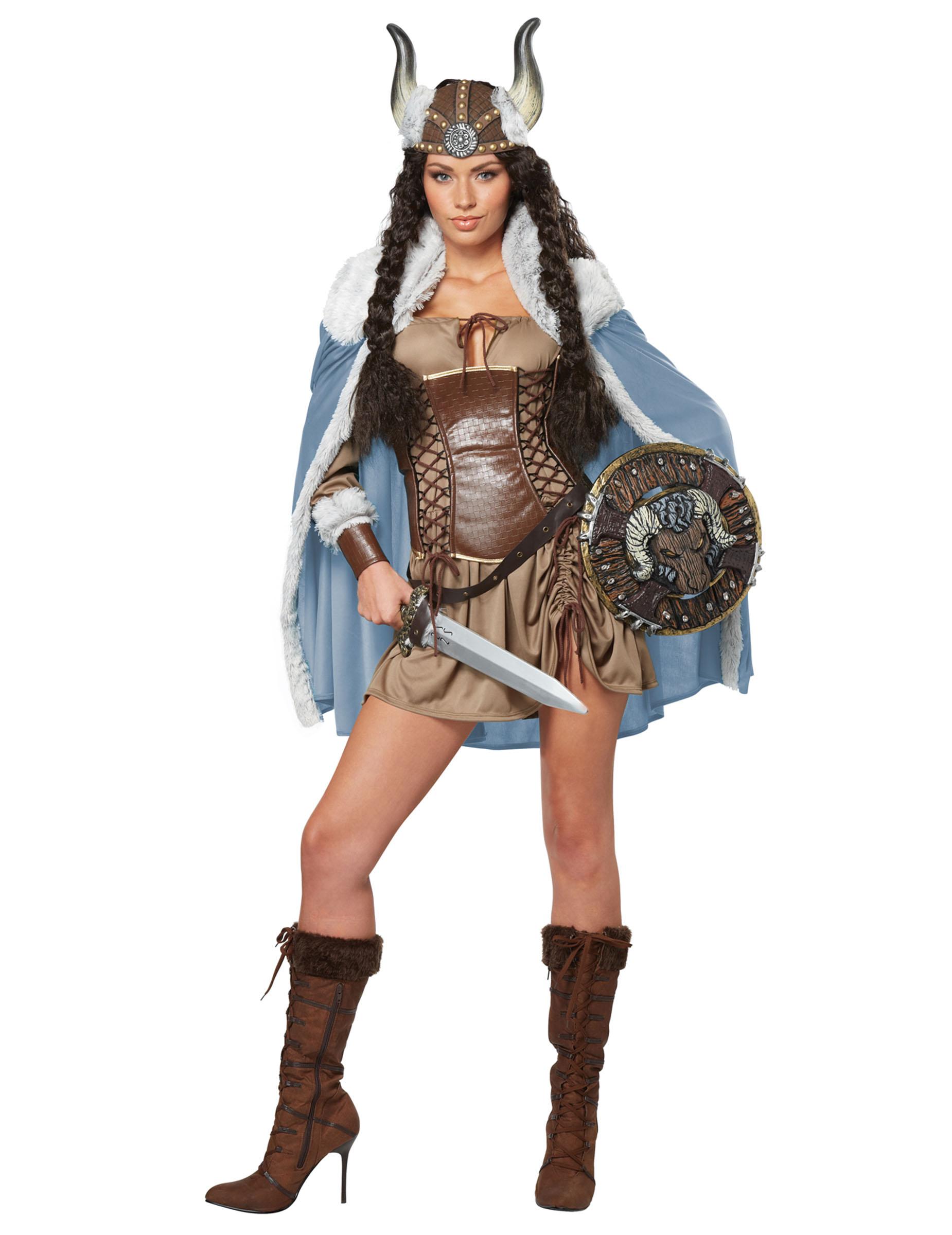 Wikinger-Kostüm für Damen Wikingerin mit Cape - S (38/40) 81342