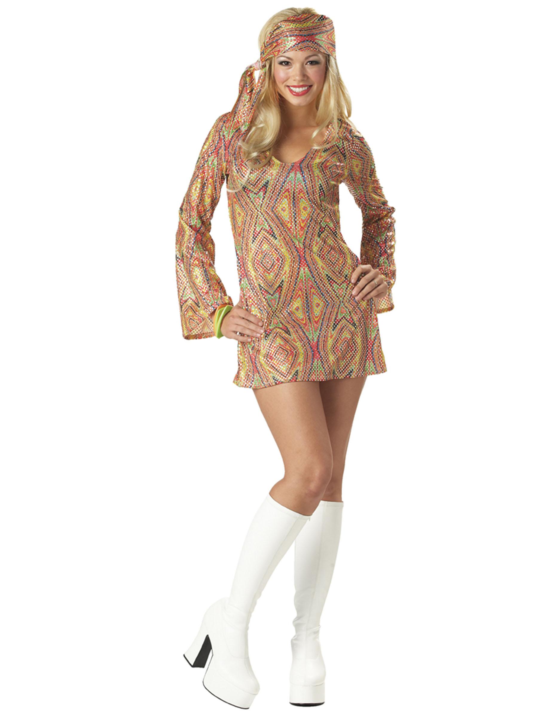 Sexy Pailletten-Disco-Outfit für Damen!: Kostüme für