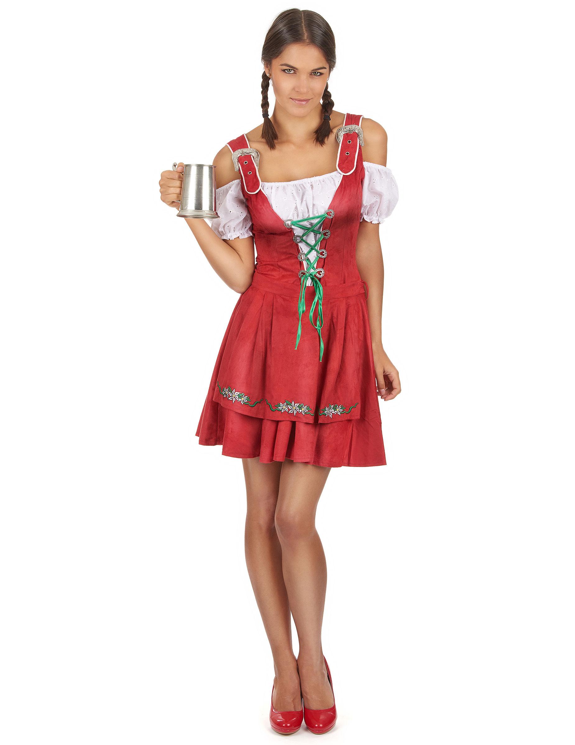 Sexy Tiroler Tracht in Rot für Frauen: Kostüme für