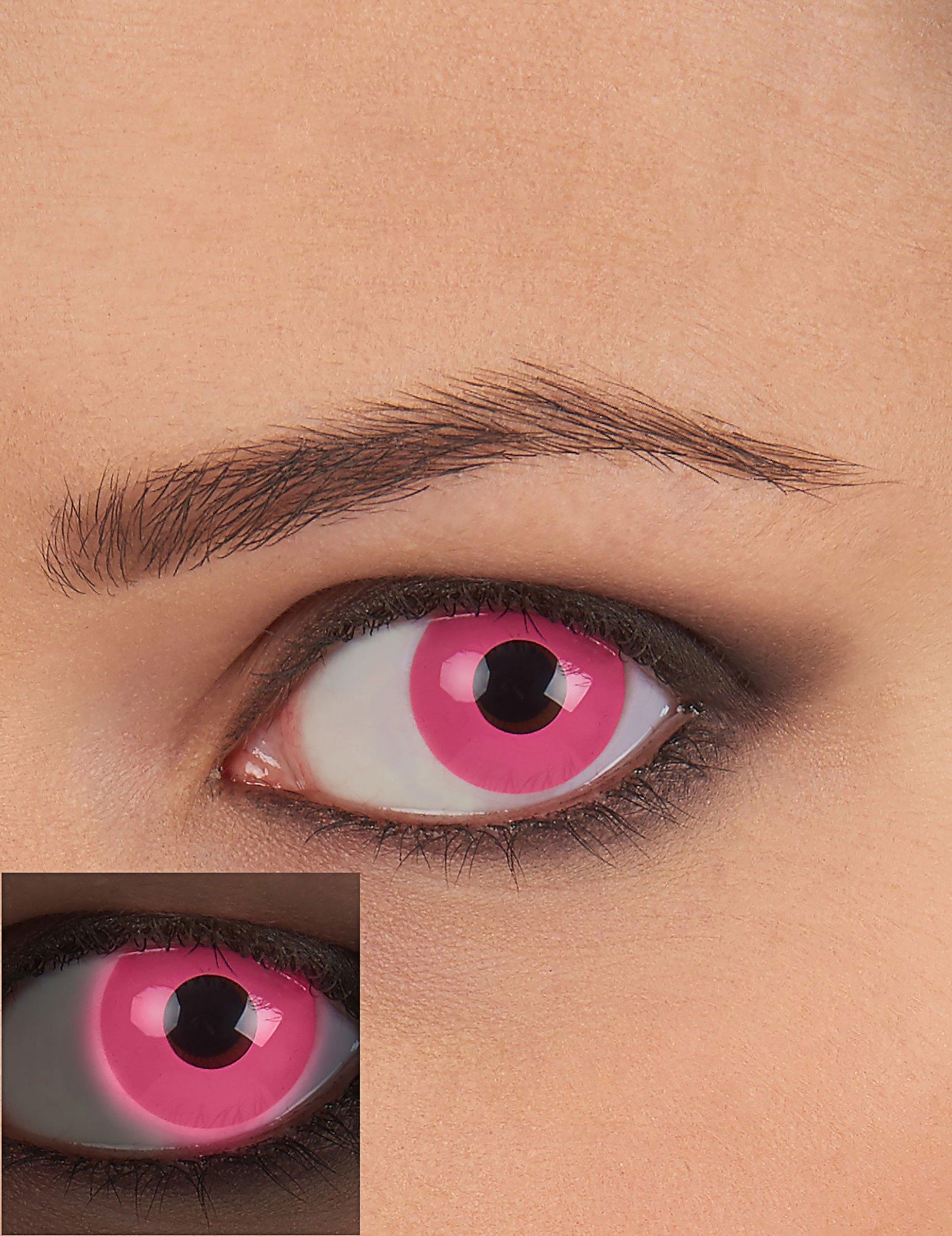 Pinke UV-Kontaktlinsen für Schwarzlicht 81958