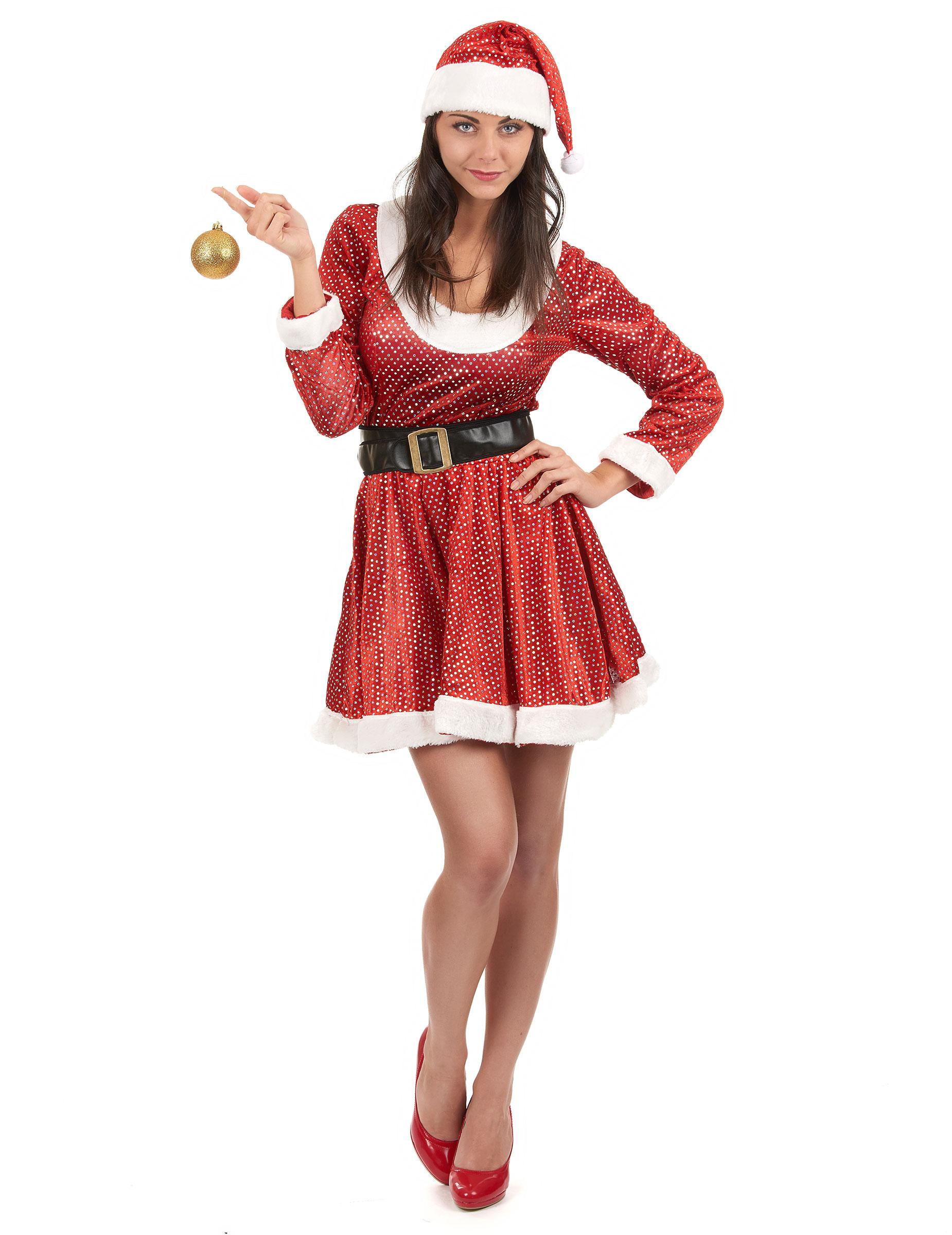 glitzerndes weihnachtsfrau kost m. Black Bedroom Furniture Sets. Home Design Ideas