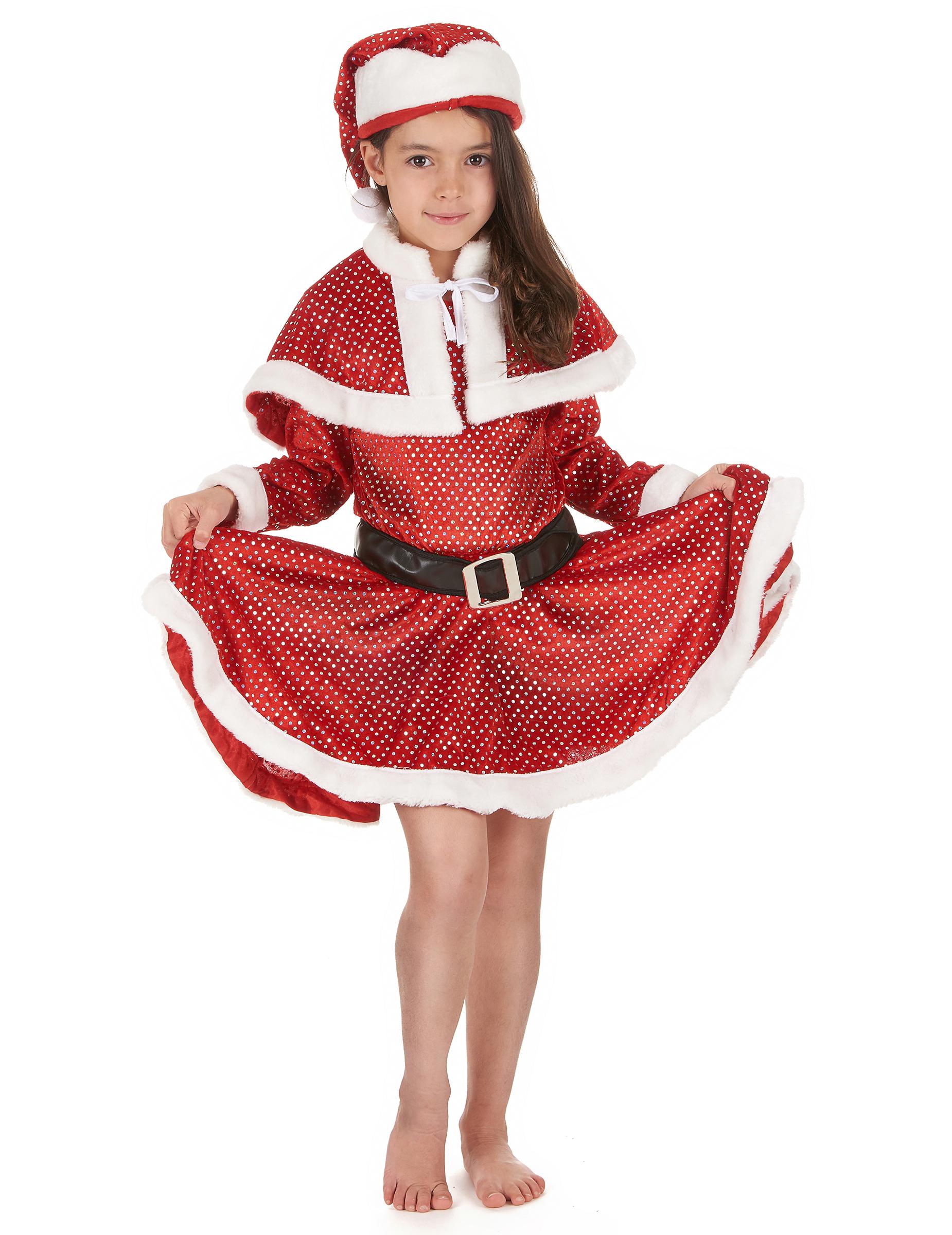 weihnachtsfrau kost m mit pailletten f r m dchen. Black Bedroom Furniture Sets. Home Design Ideas