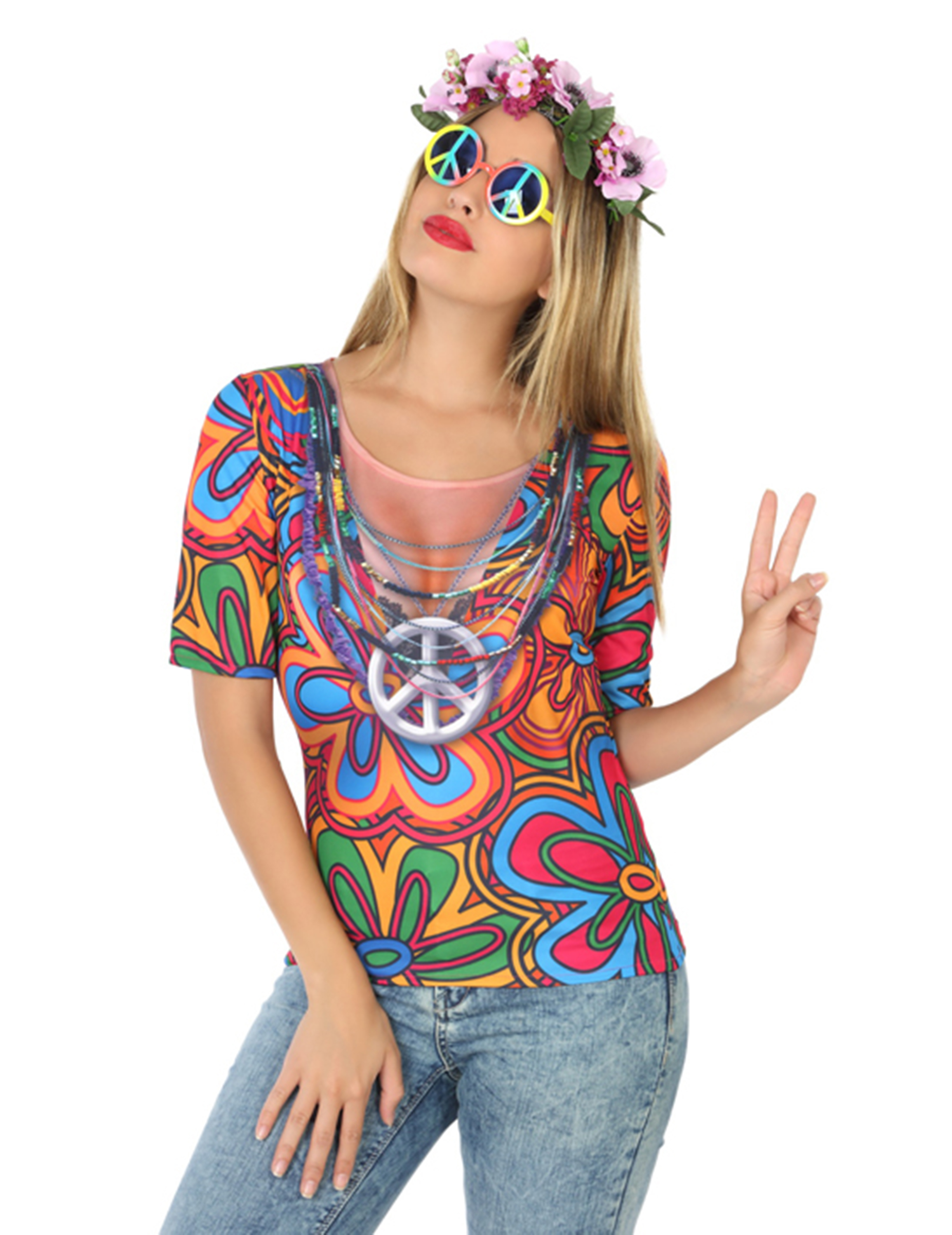 Hippie t shirt f r damen kost me f r erwachsene und g nstige faschingskost me vegaoo - Hippie bluse damen ...