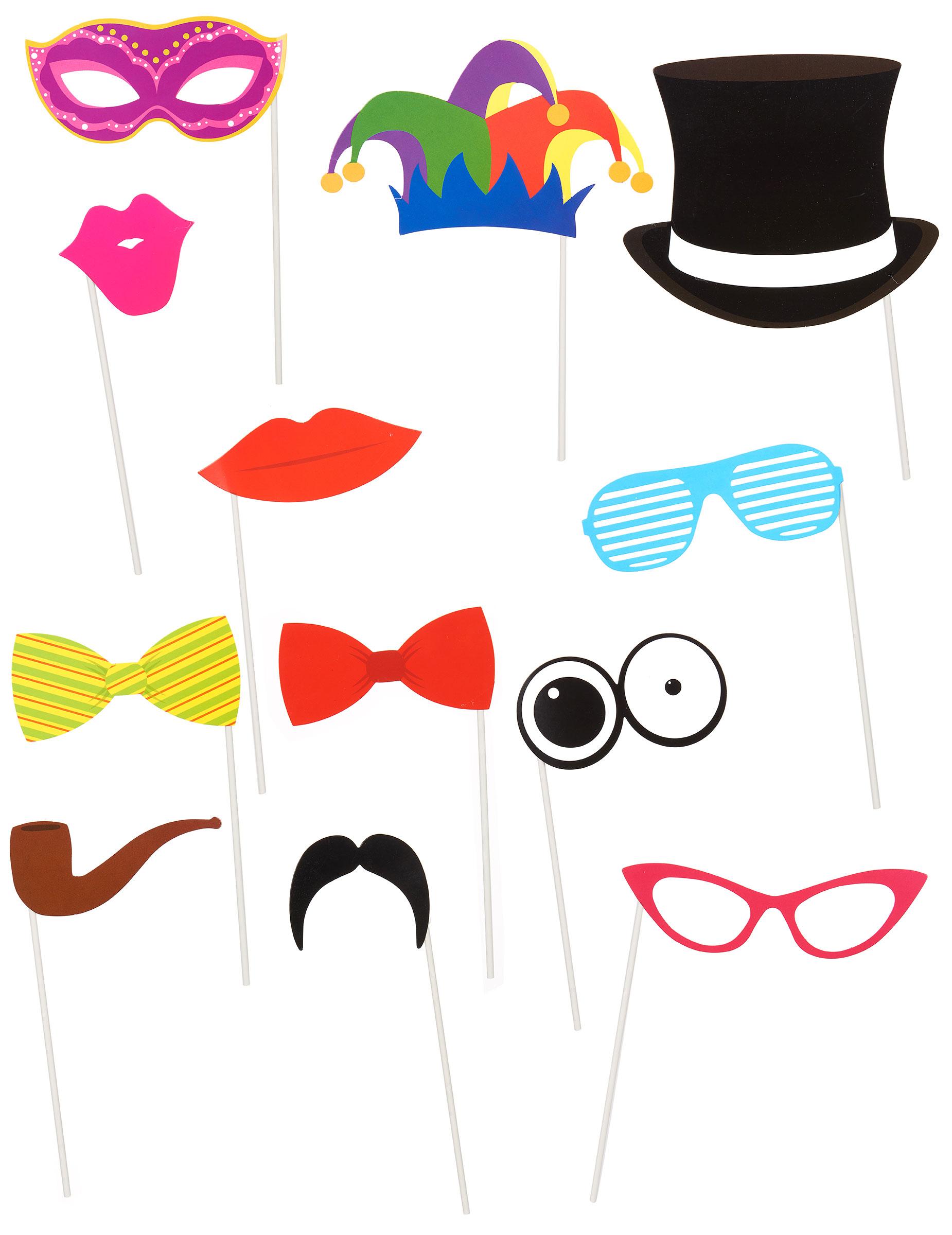Set mit lustigen Masken für Fotos: Partydeko,und günstige