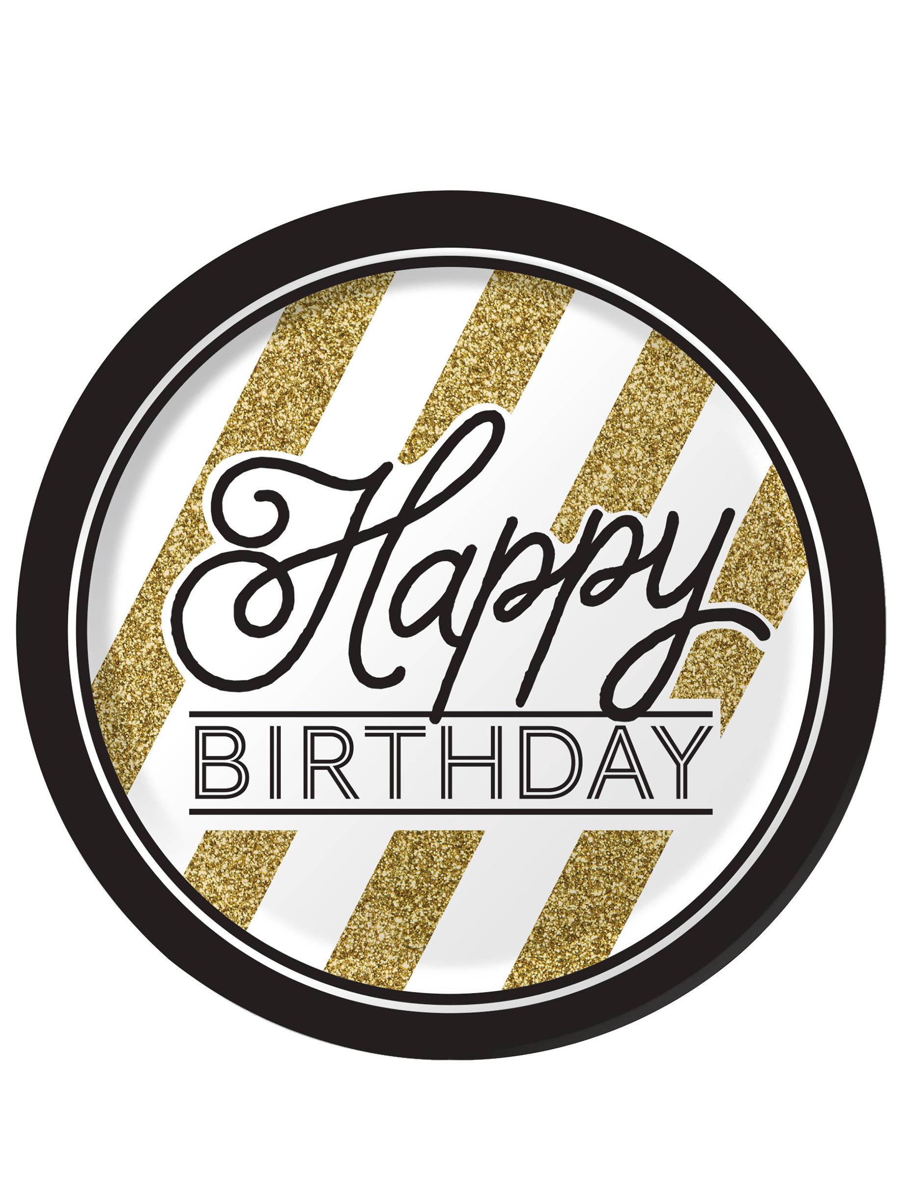 8 pappteller birthday schwarz gold partydeko und for Pappteller gold