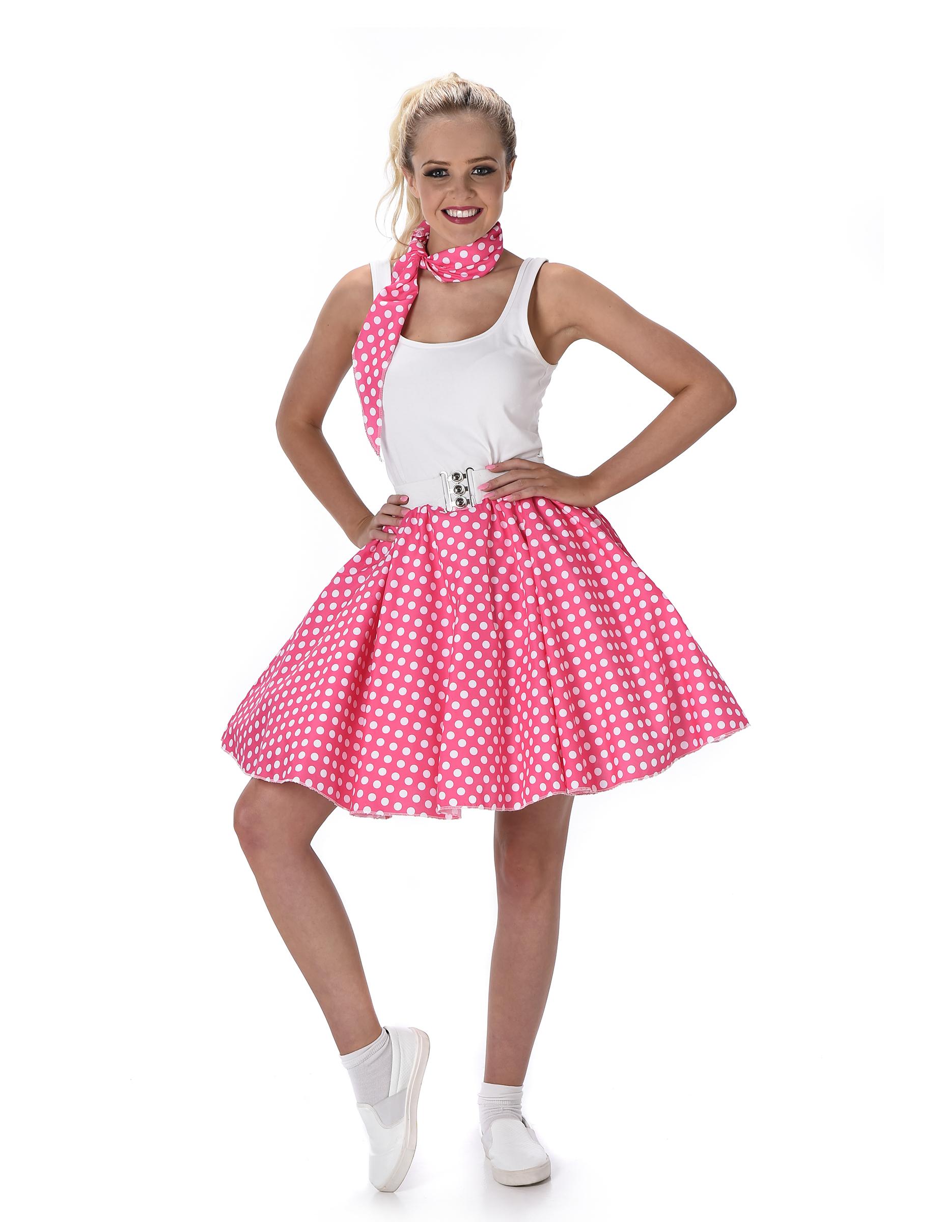 309430c620be7d 50er Jahre Kostüm für Damen pink-weiß gepunktet Rockabilly