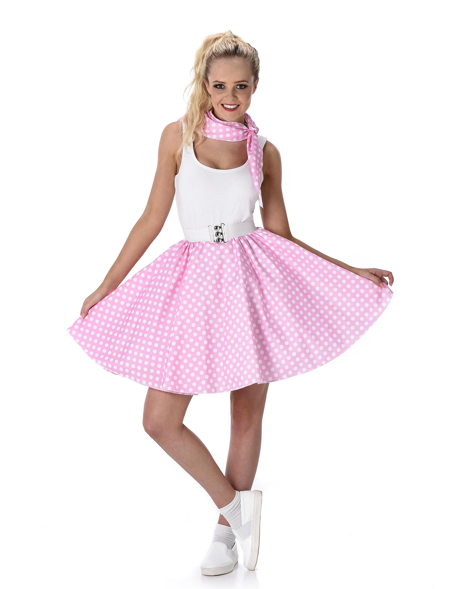 Rosafarbenes 50er Jahre Kostüm für Damen - M 152423