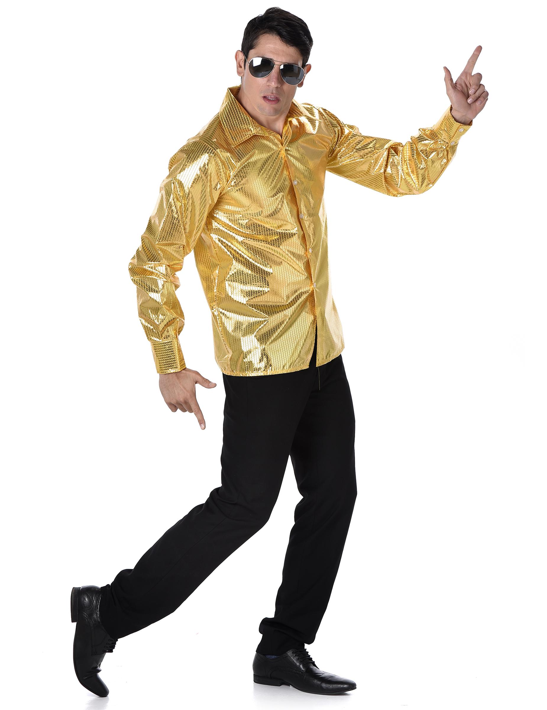 70er-Jahre Disco Hemd für Herren gold - XL 152529