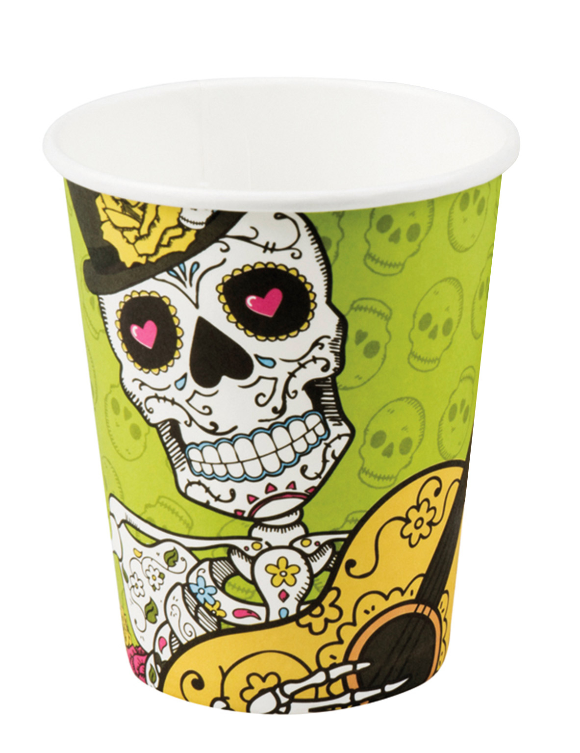 6 becher aus pappe dia de los muertos 250 ml partydeko und g nstige faschingskost me vegaoo. Black Bedroom Furniture Sets. Home Design Ideas