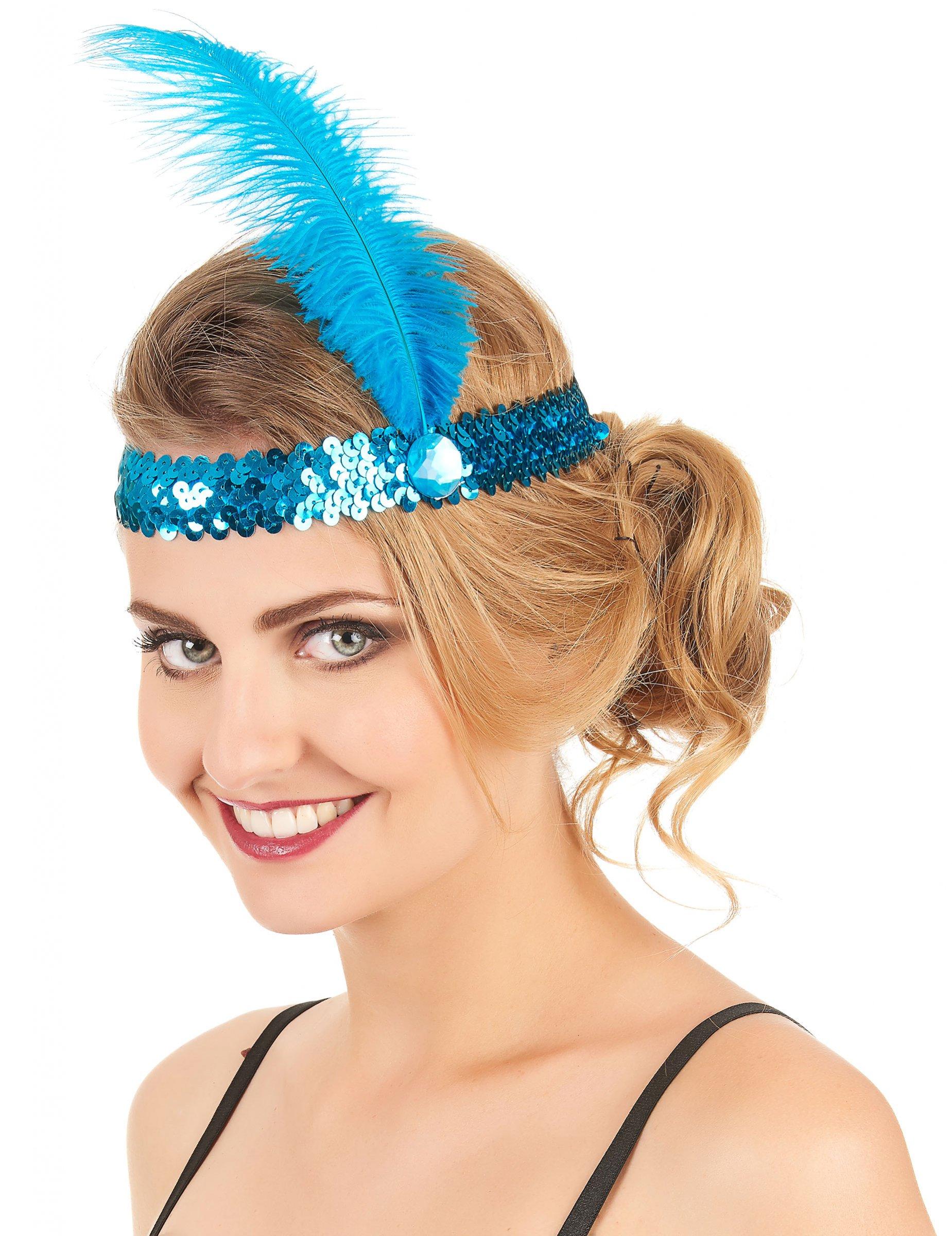 20er jahre pailletten haarband mit feder f r erwachsene accessoires und g nstige. Black Bedroom Furniture Sets. Home Design Ideas