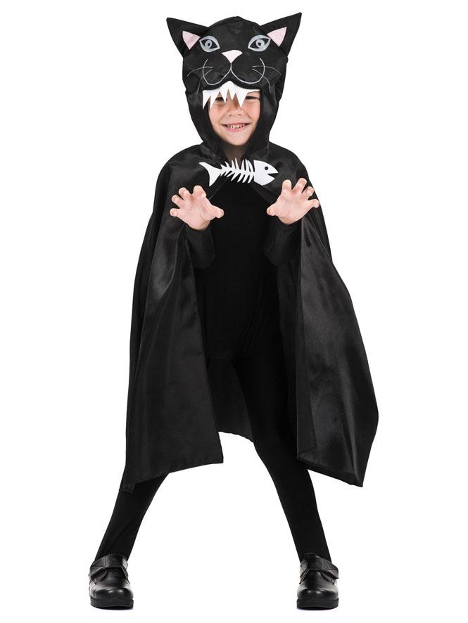 Halloween Kinder Umhang Katze Schwarz 75 Cm Accessoires Und