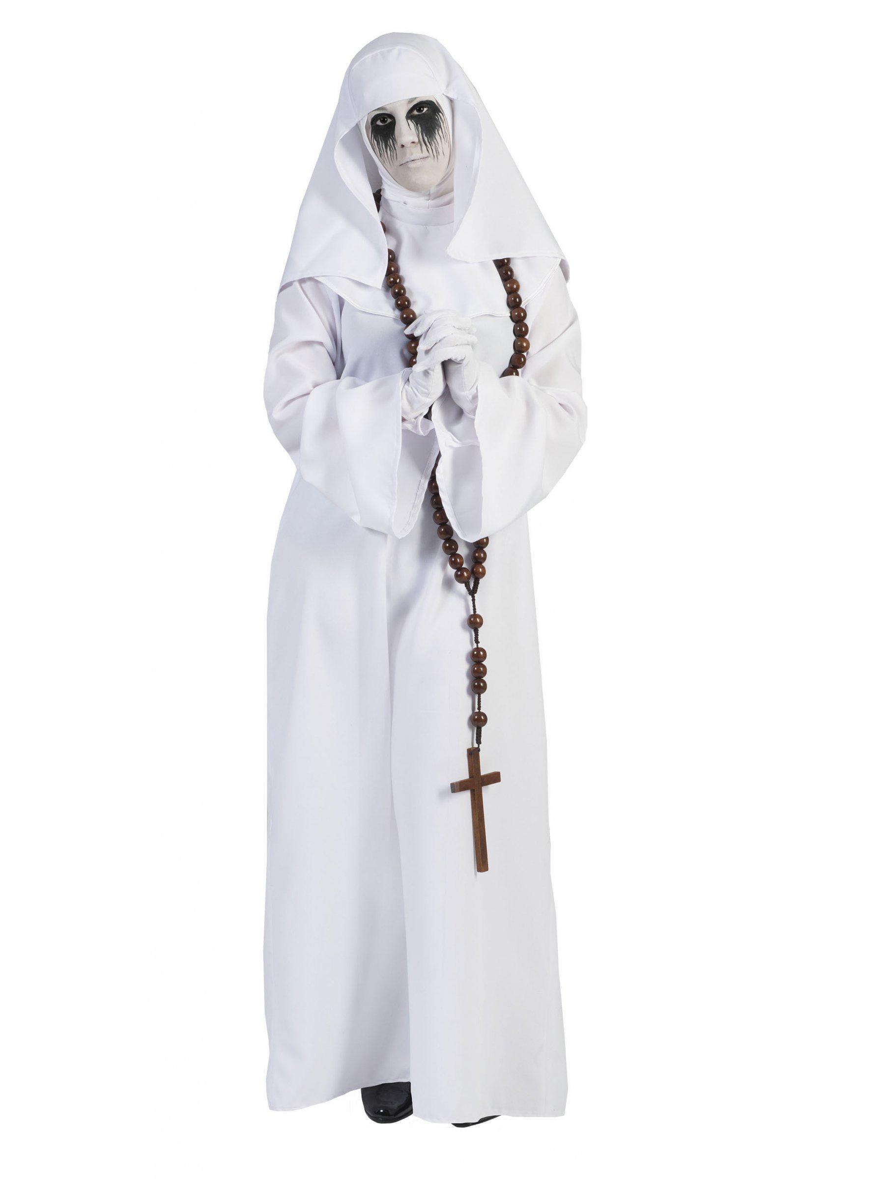 Geisterhaftes Nonnen-Kostüm für Damen weiss - M 155598