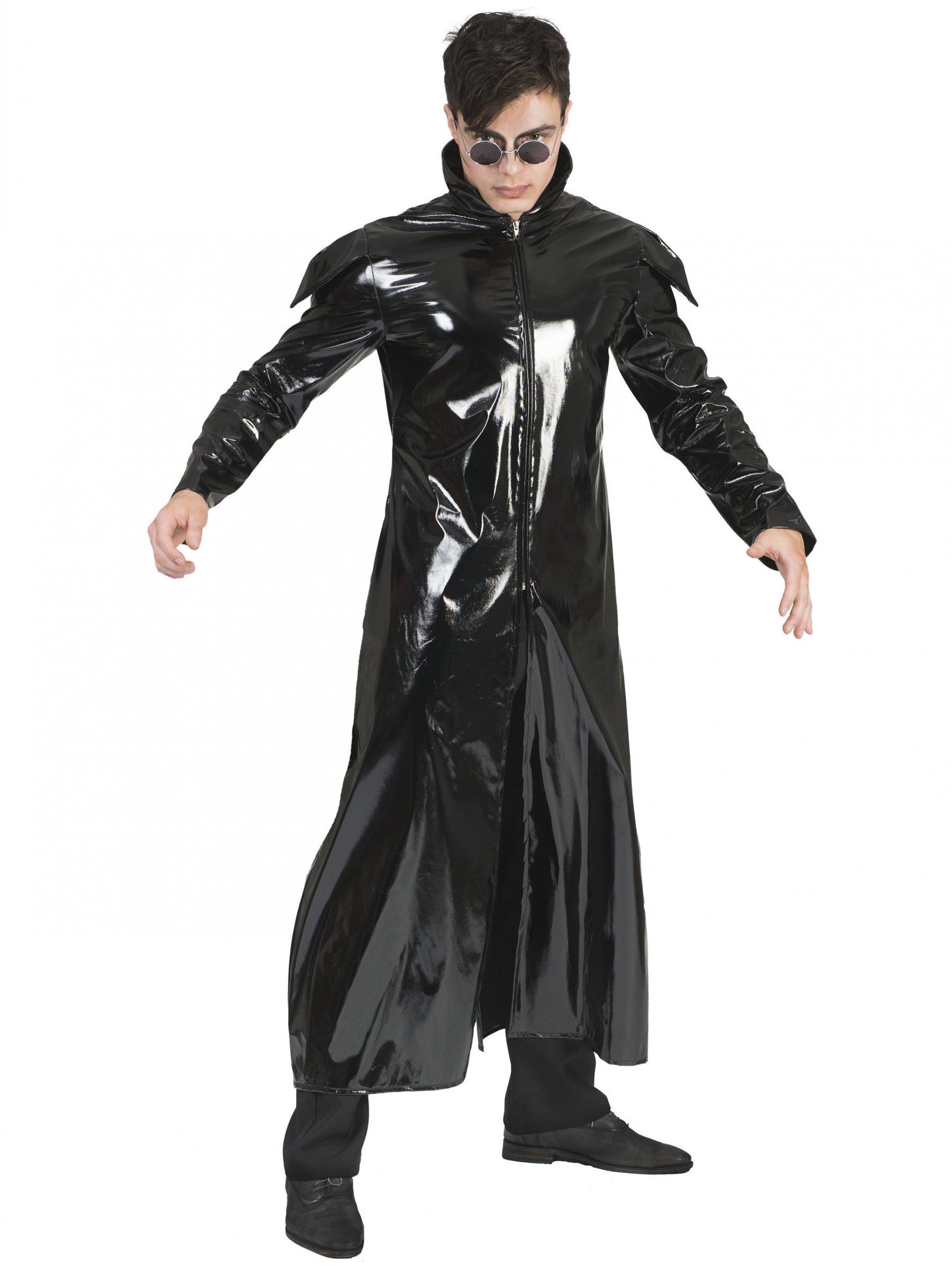 336832fe7631e0 Schwarzer Mantel aus schwarzem Lack-Leder