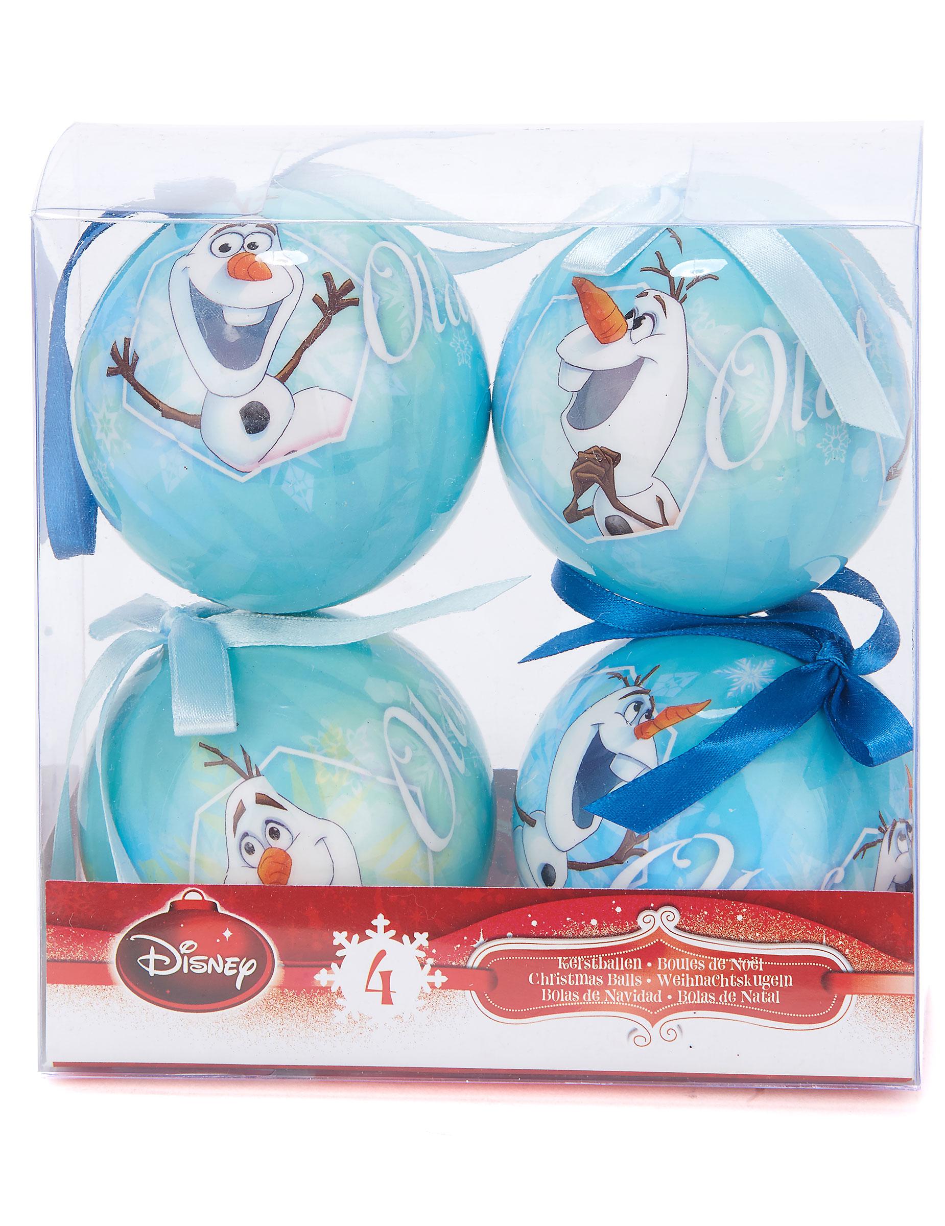 4 weihnachtskugeln olaf die eisk nigin partydeko und g nstige faschingskost me vegaoo - Disney weihnachtskugeln ...