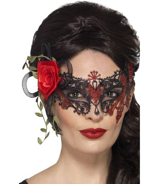 Dia de los Muertos Maske mit Spitze und Rose 156716