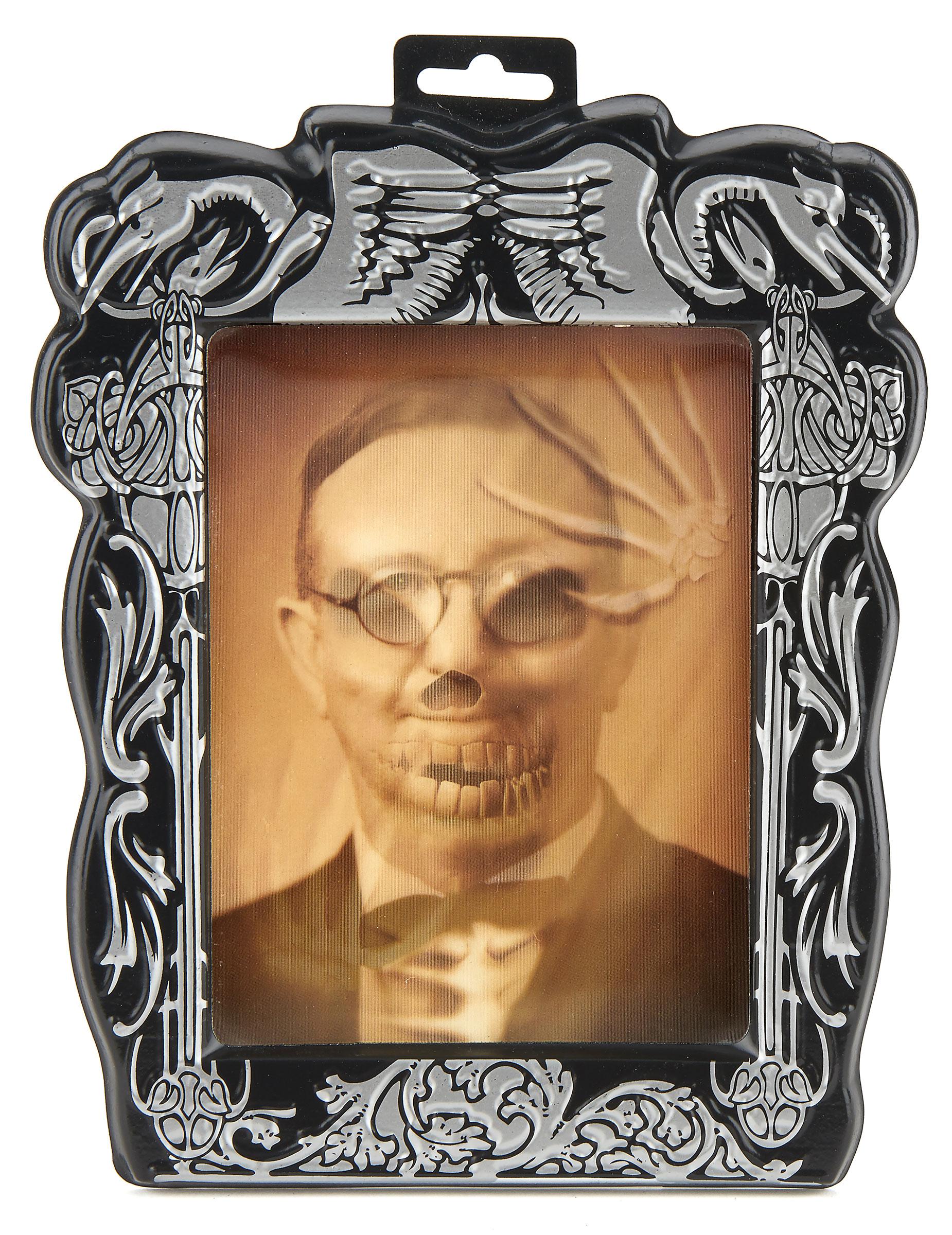 Hologramm-Bild Skelett mit Bilderrahmen: Partydeko,und günstige ...