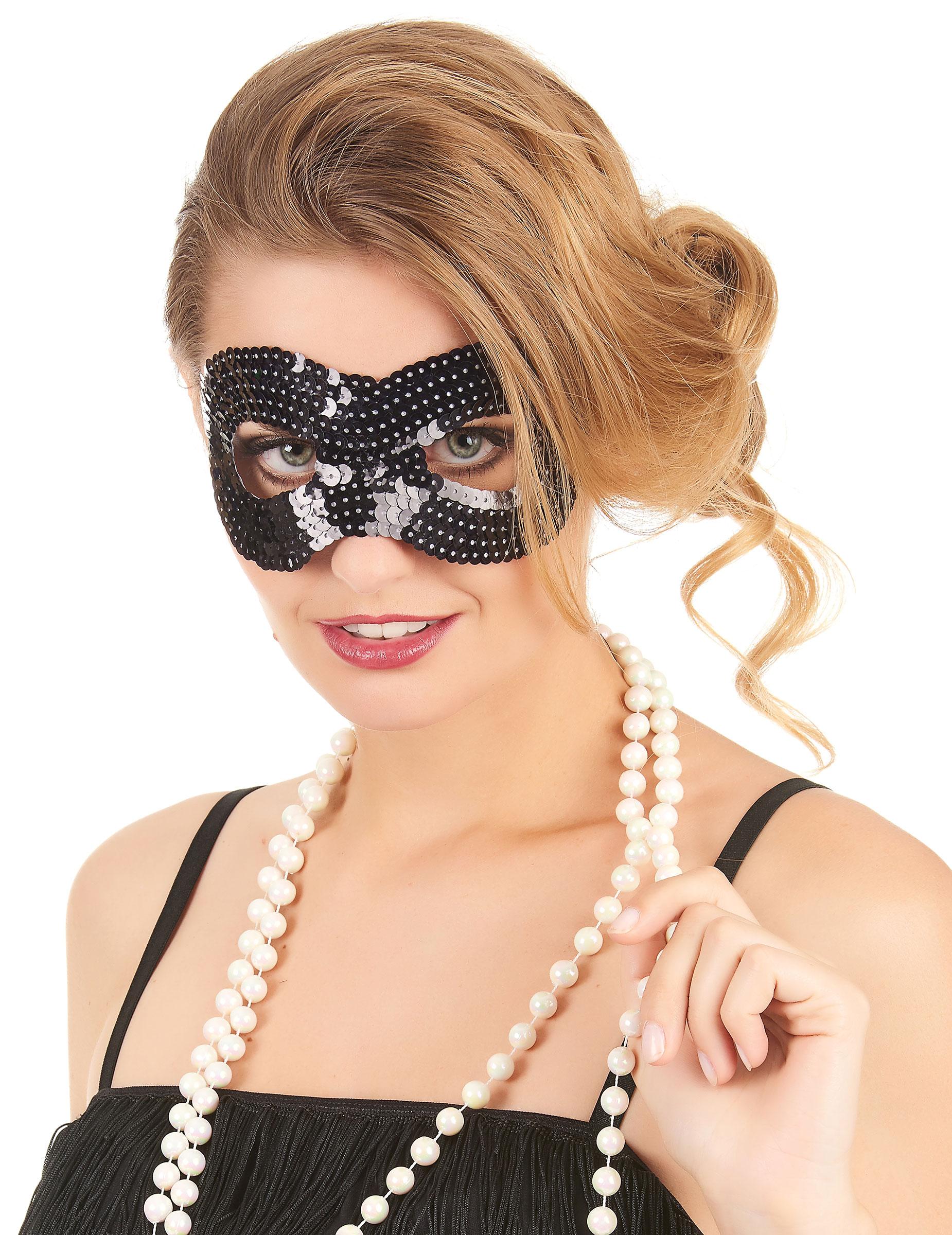 Maskenball//Masquerade Kostüm Pailletten Augenmaske Schwarz