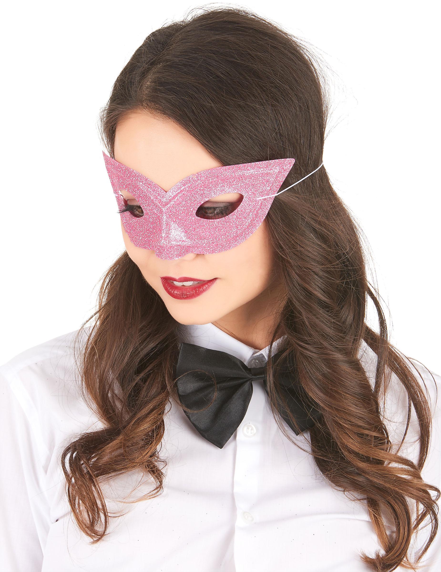 #Venezianische Glitzer-Maske für Erwachsene rosa#