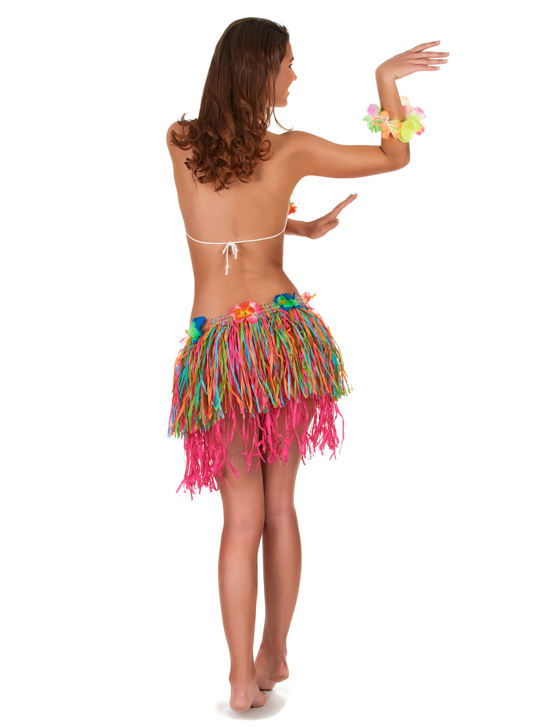 Hawaii-Rock mit Blumen für Damen bunt: Kostüme für Erwachsene,und ...