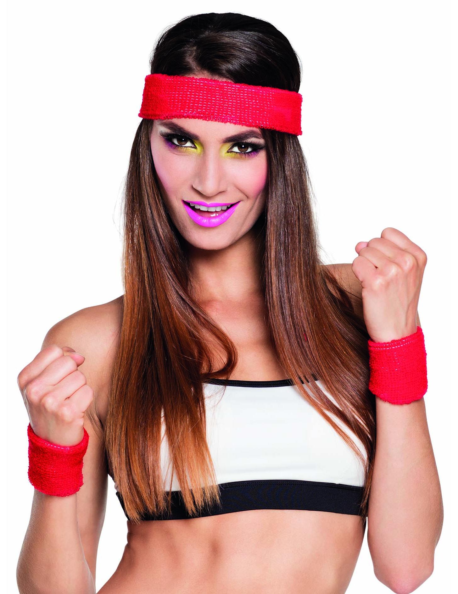 #80er Jahre Stirnband und Schweißbänder rot#