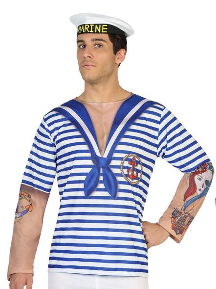 aba5f0f1ea6b9b Matrosen-Shirt für Herren blau-weiß  Kostüme für Erwachsene