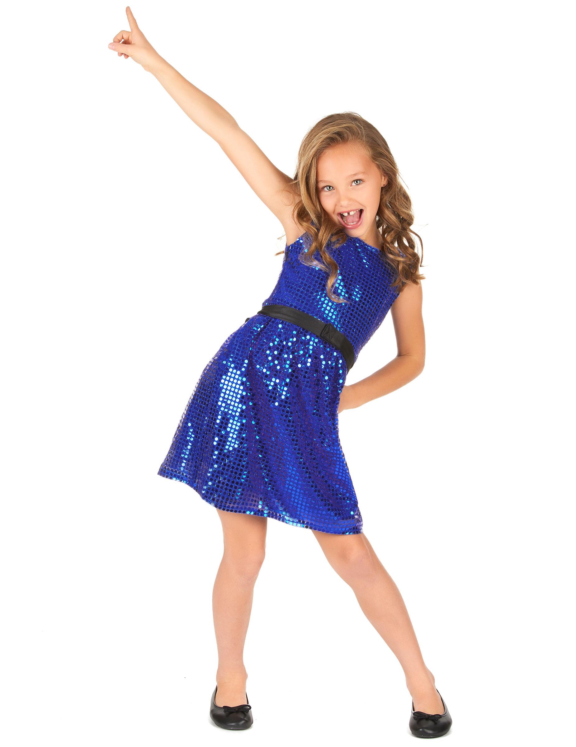 0bf351c61c86 Kostüm blaues Pailletten Disco Kleid mit Schleife