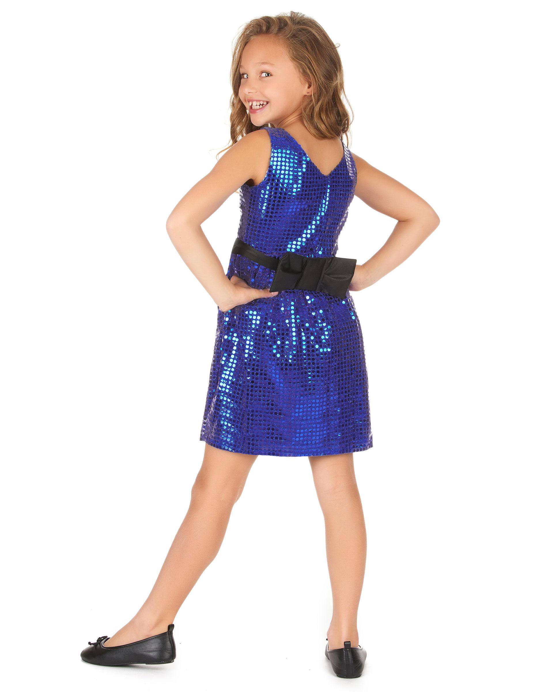 Kostüm blaues Pailletten Disco Kleid mit Schleife: Kostüme für ...