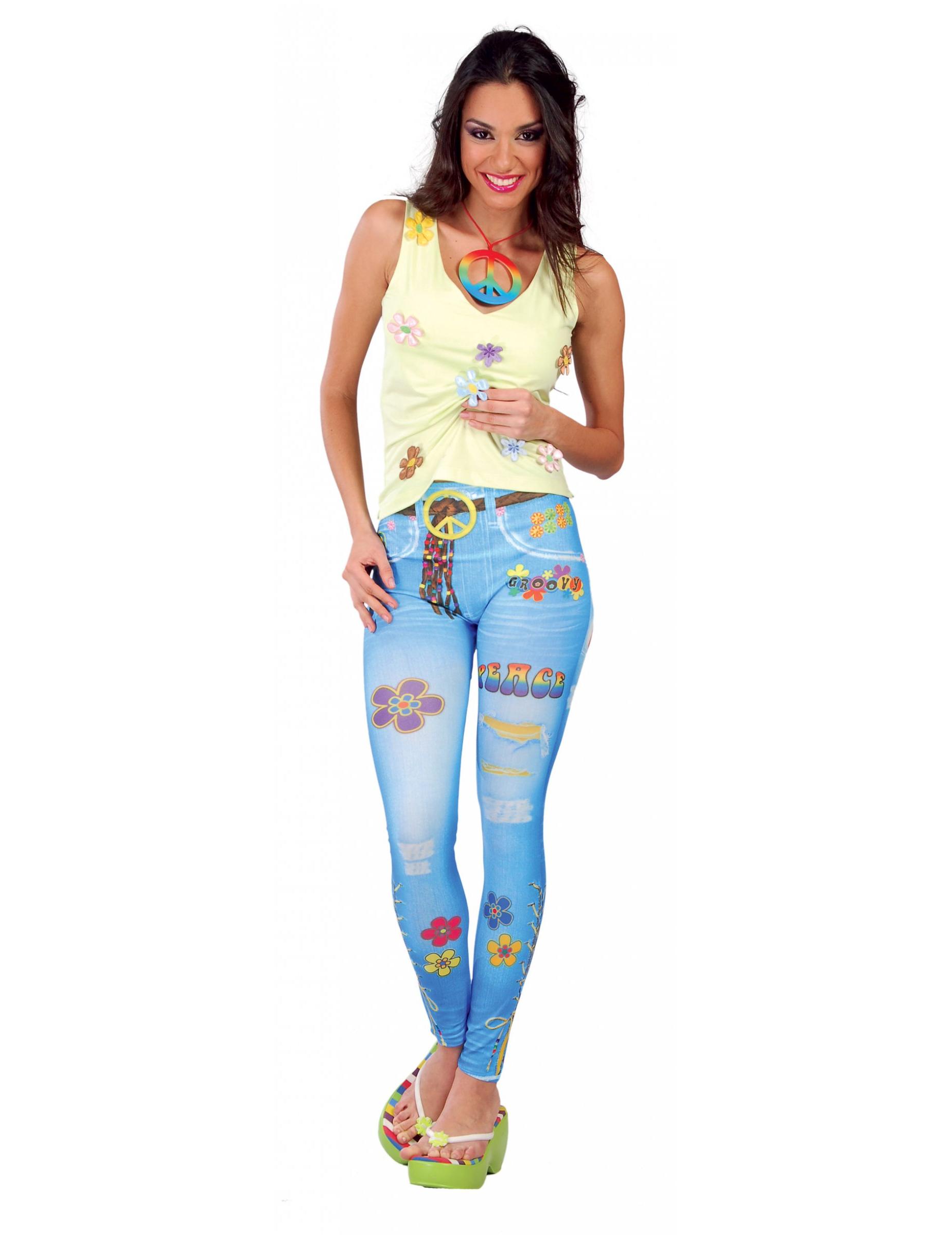 hippie leggings im jeans look f r damen kost me f r erwachsene und g nstige faschingskost me. Black Bedroom Furniture Sets. Home Design Ideas