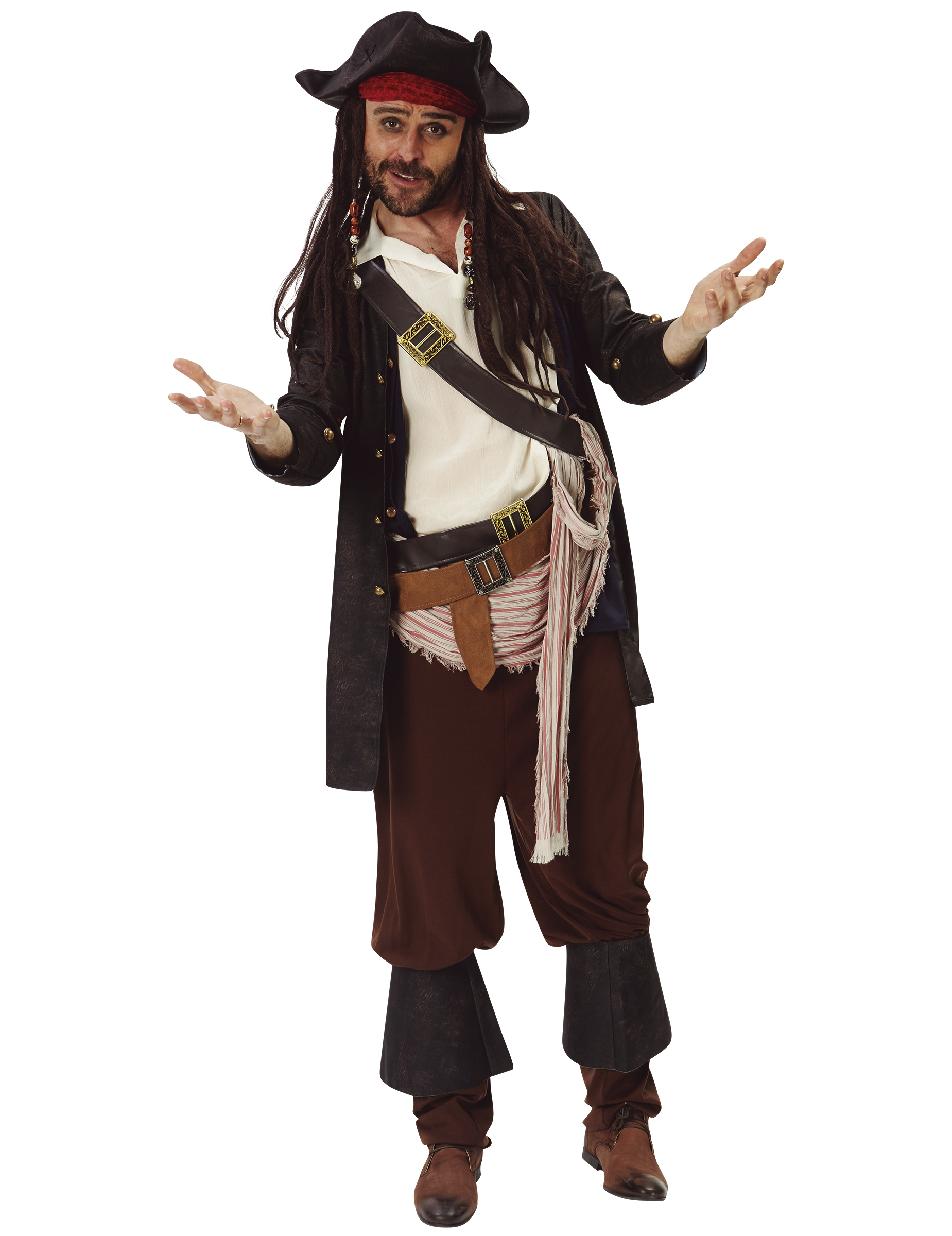 pirat jack sparrow kost m f r erwachsene. Black Bedroom Furniture Sets. Home Design Ideas