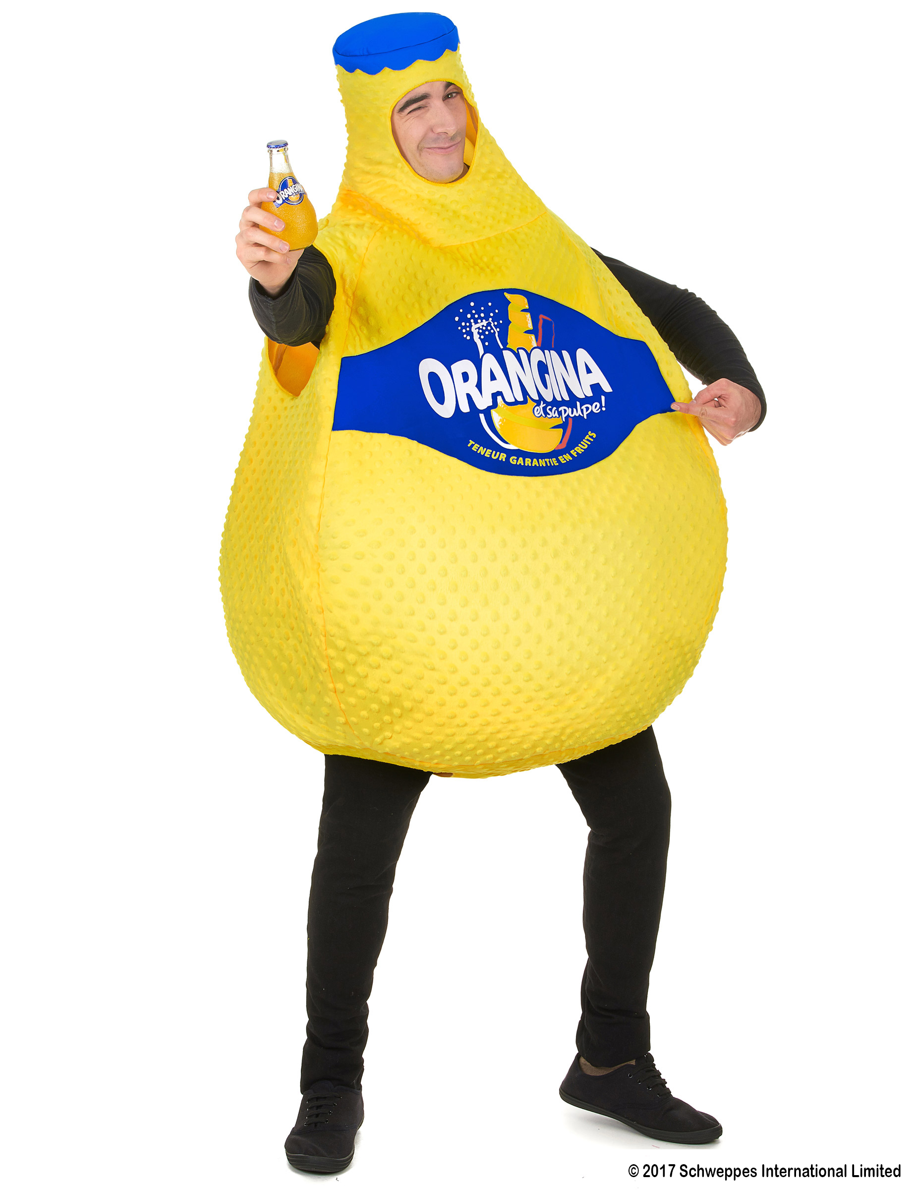 Orangina Flasche Kostüm für Erwachsene gelb 160883