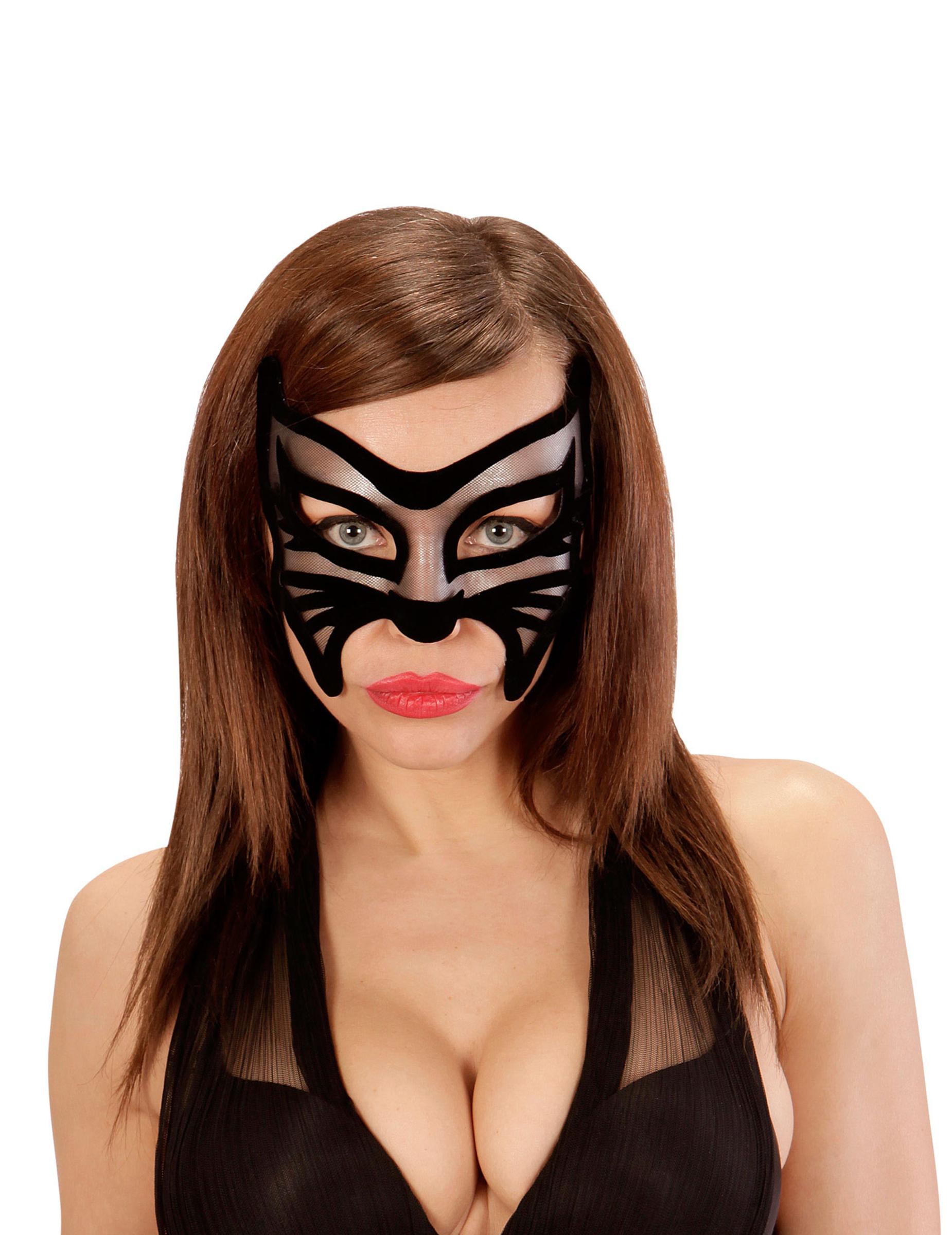 sexy katze maske f r damen schwarz masken und g nstige faschingskost me vegaoo. Black Bedroom Furniture Sets. Home Design Ideas