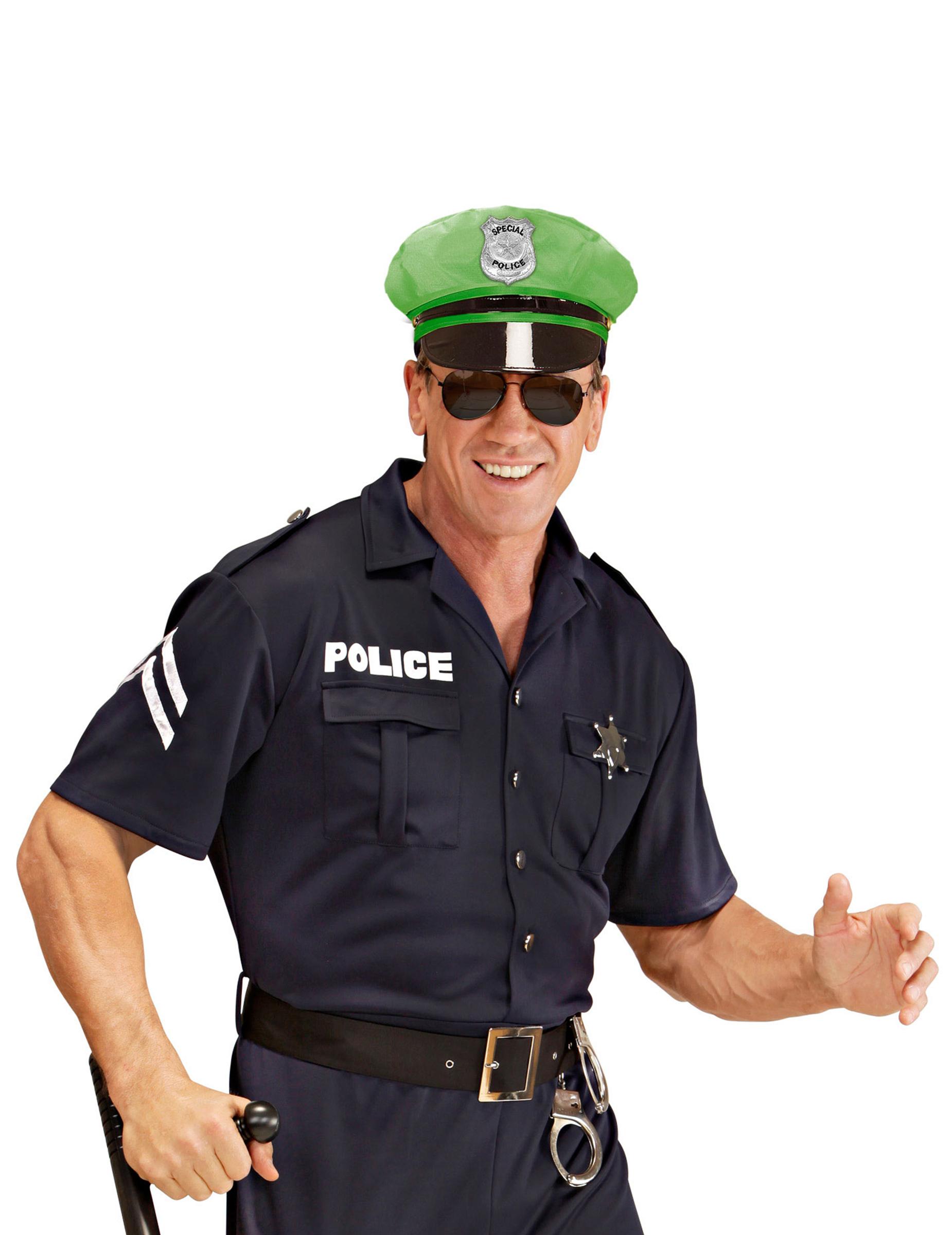 Polizei-Mütze für Erwachsene grün: Hüte,und günstige ...