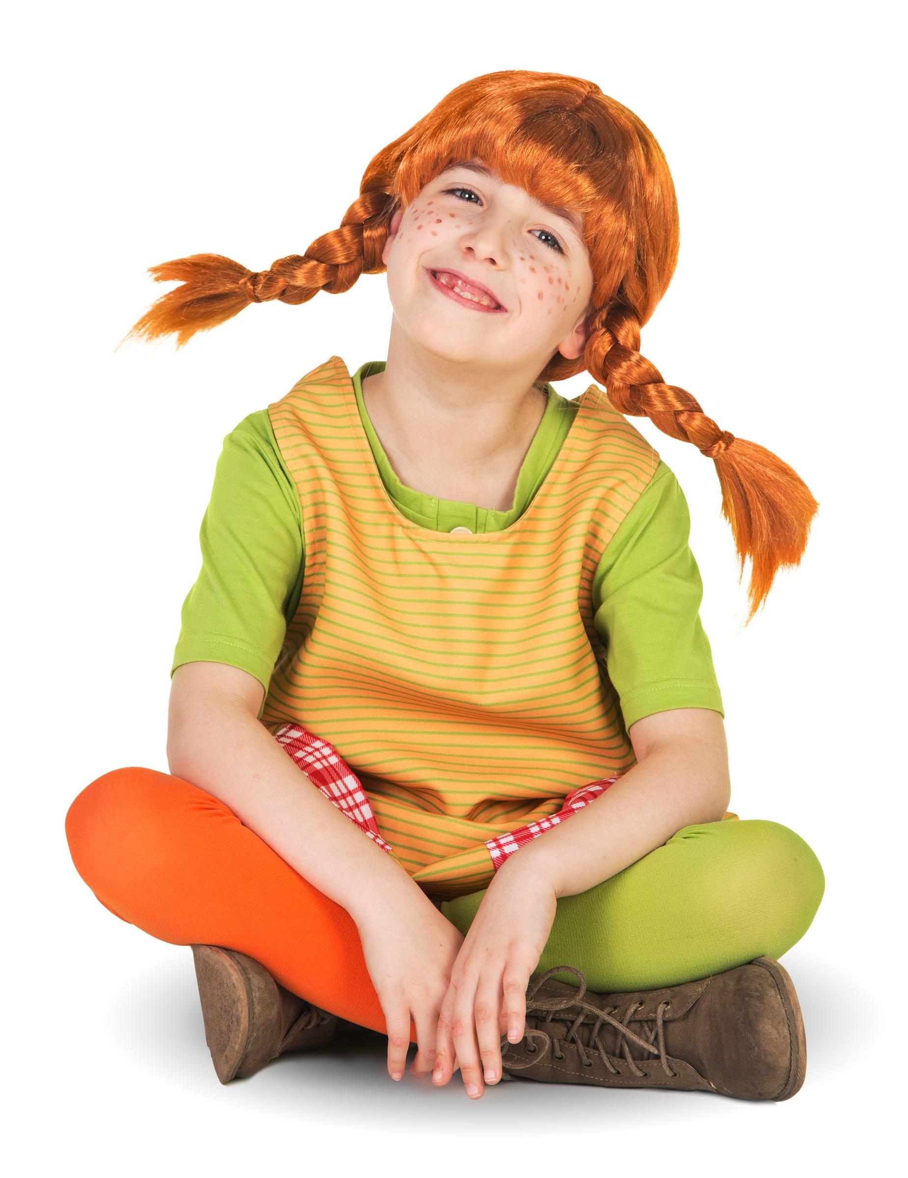 Pippi Langstrumpf Perücke für Kinder 161334