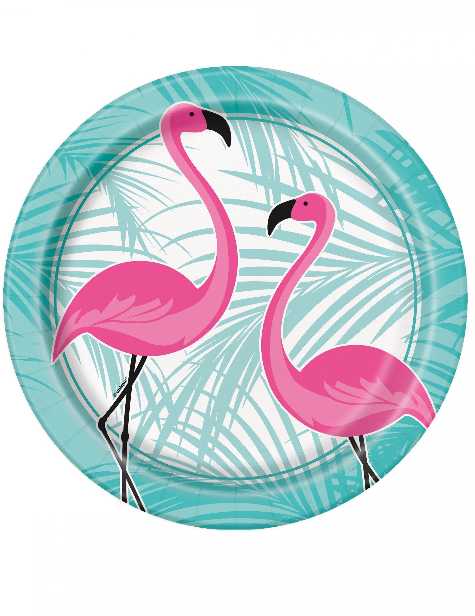 8 Pappteller Flamingo Rosa T Rkis 22 Cm Partydeko Und